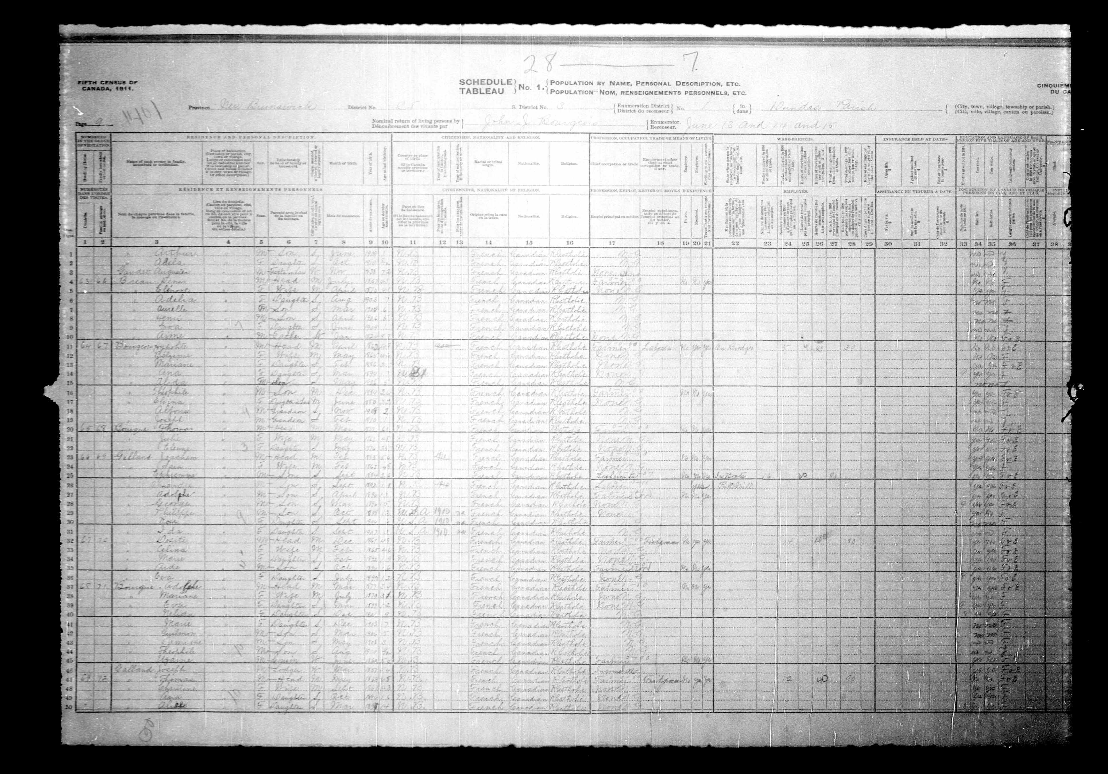 Digitized page of Census of Canada, 1911, Page number 9, for Thomas Galland