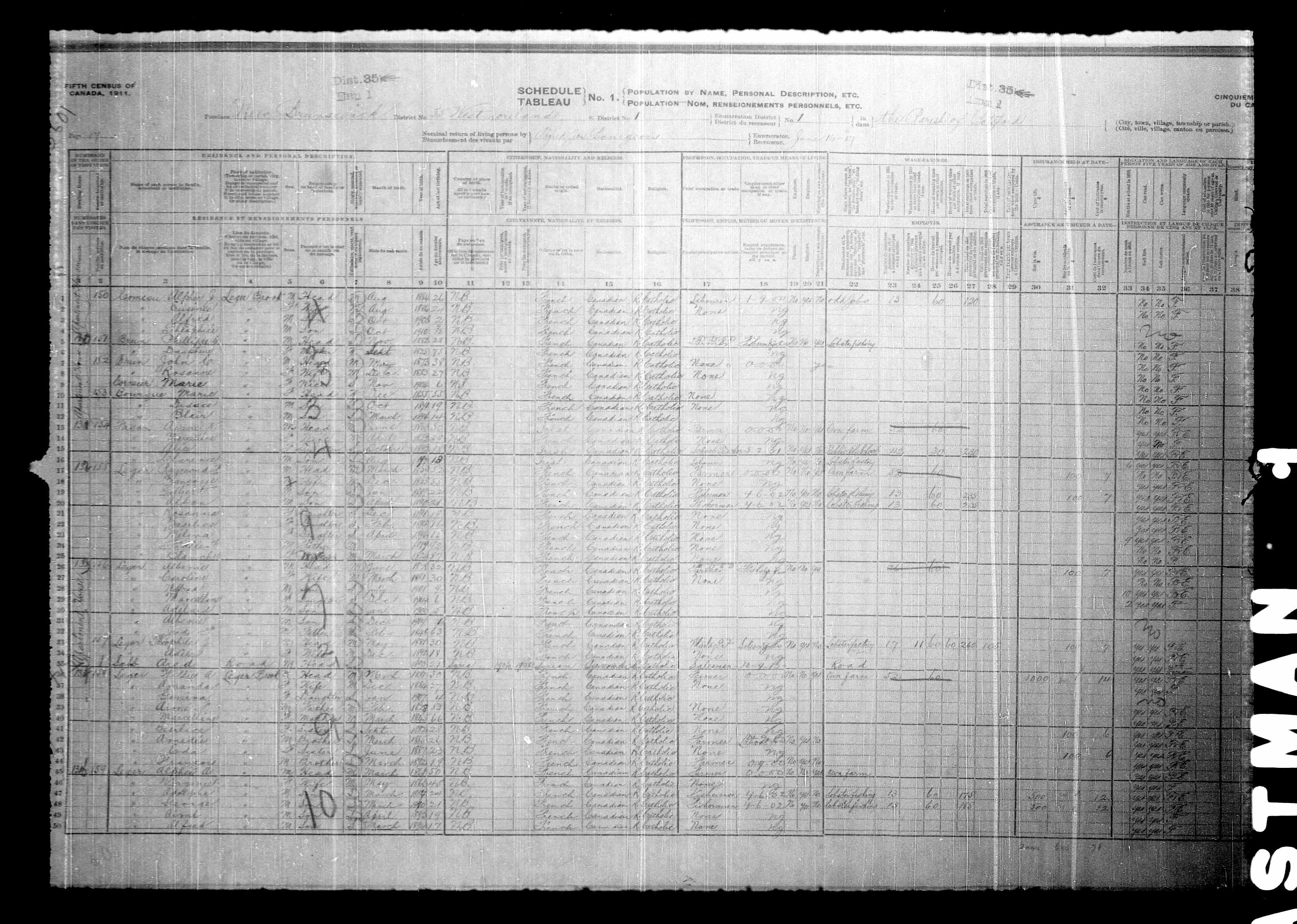 Digitized page of Census of Canada, 1911, Page number 17, for Raymond H Leger