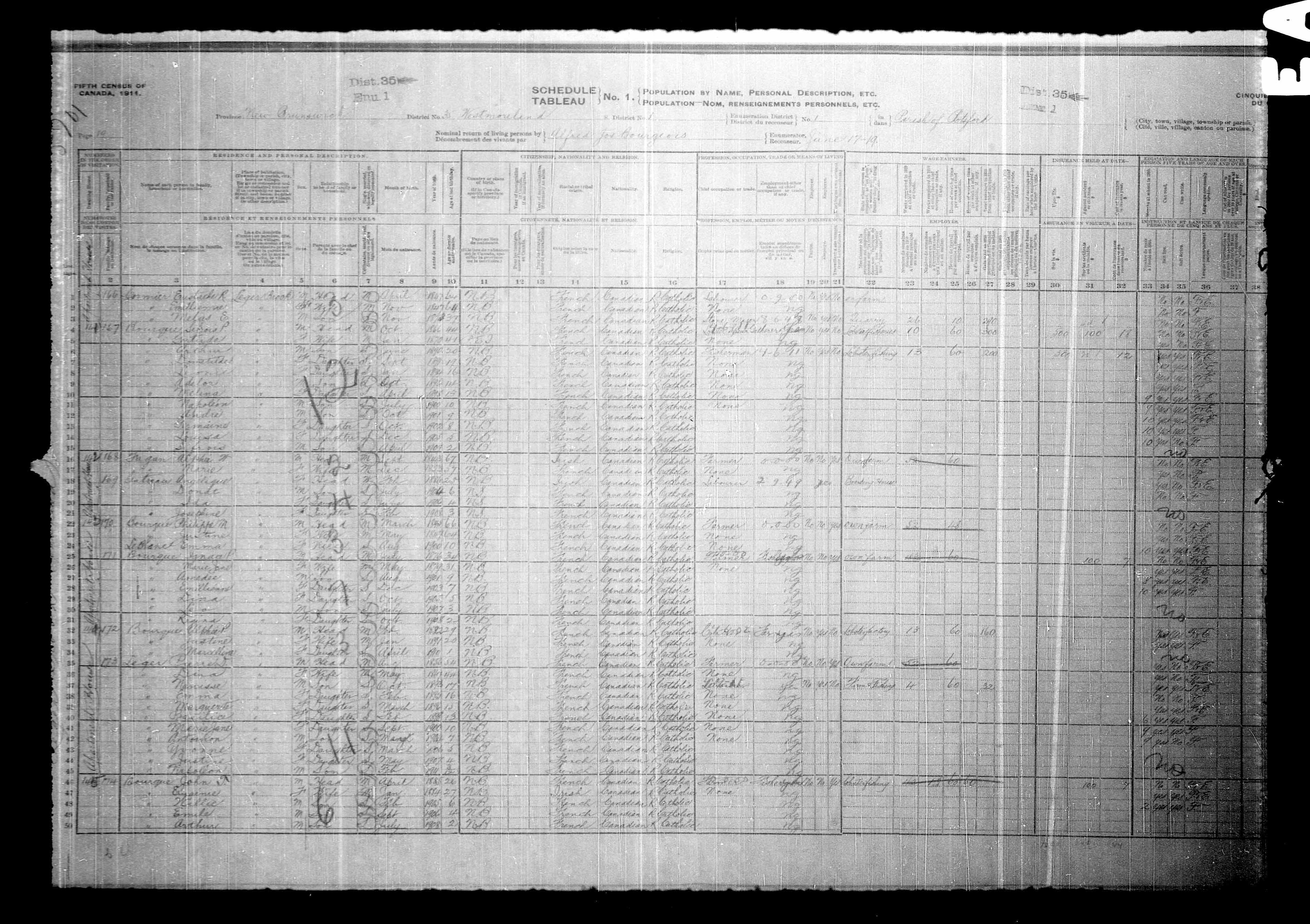 Digitized page of Census of Canada, 1911, Page number 19, for Piearch D Leger