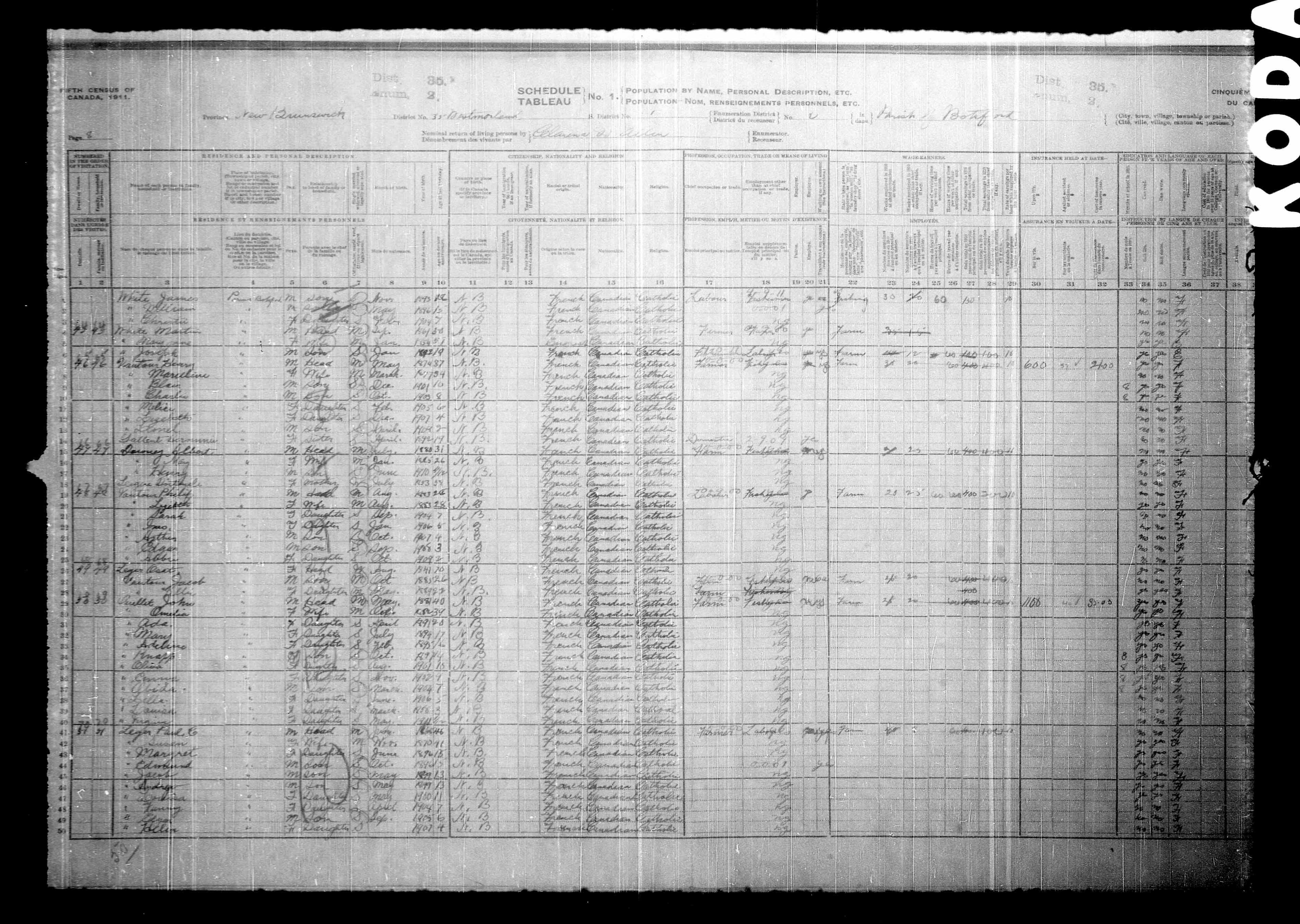 Digitized page of Census of Canada, 1911, Page number 8, for Paul C Leger