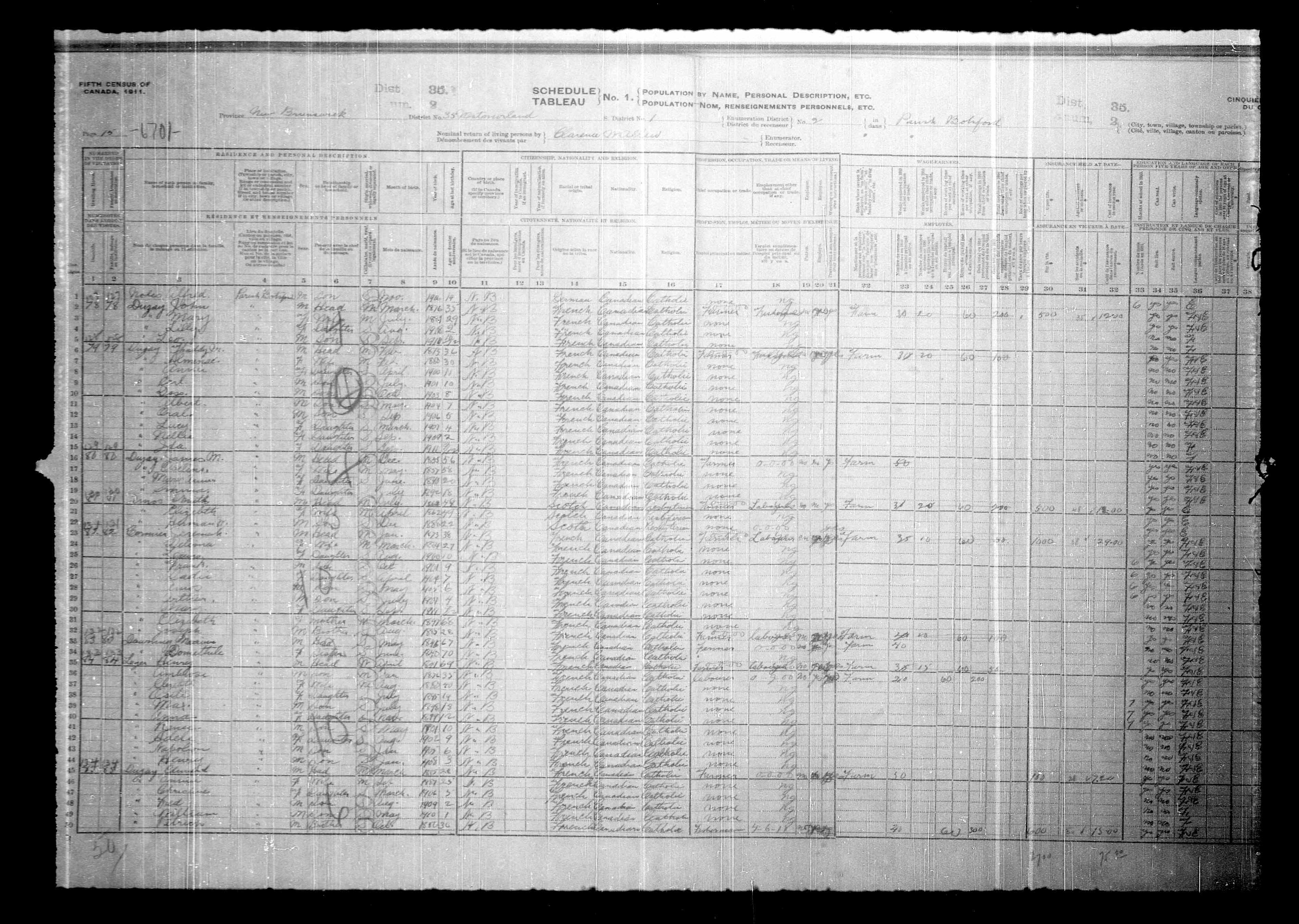 Digitized page of Census of Canada, 1911, Page number 15, for Henry Loger