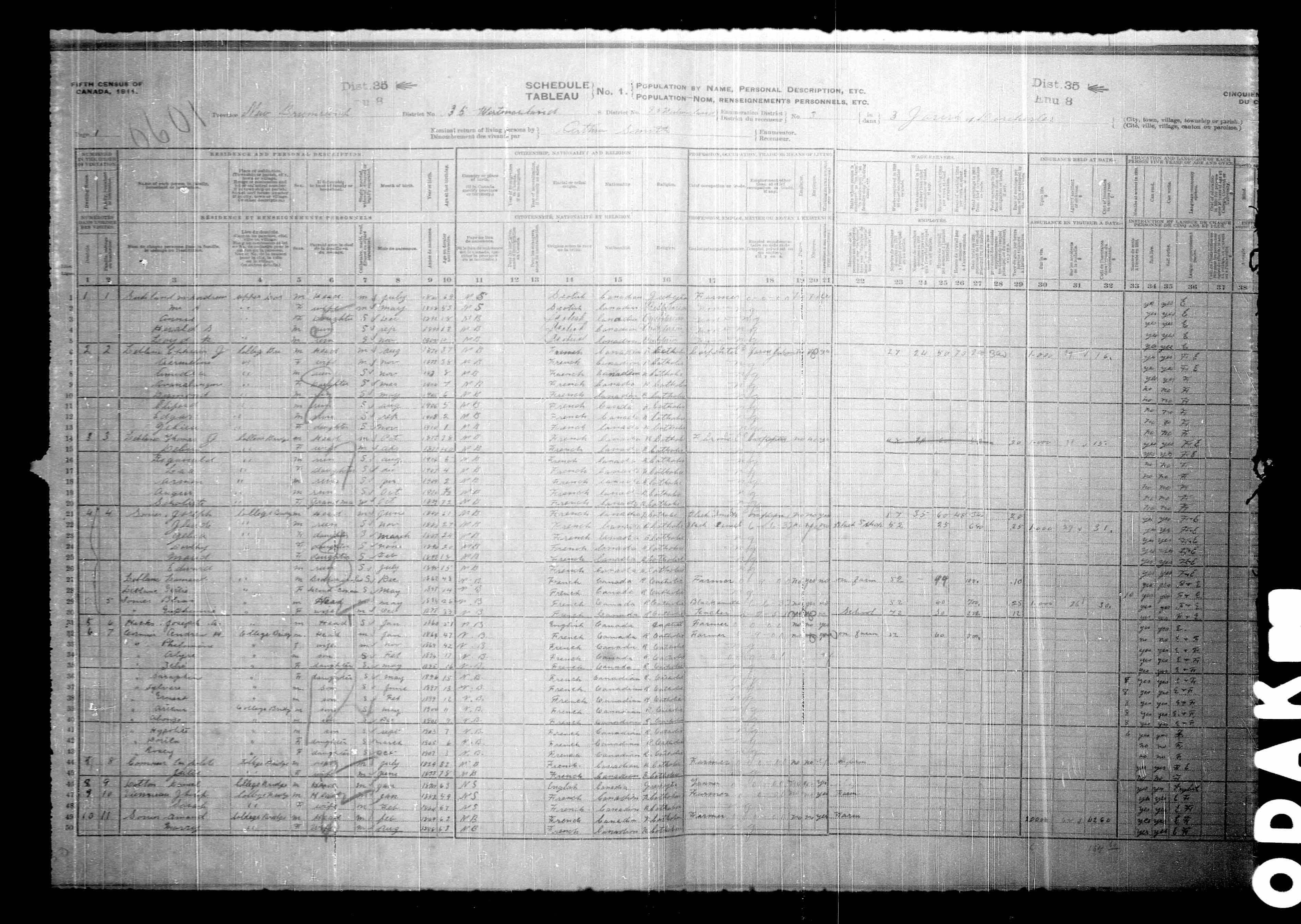 Digitized page of Census of Canada, 1911, Page number 1, for Andrew H Cormier