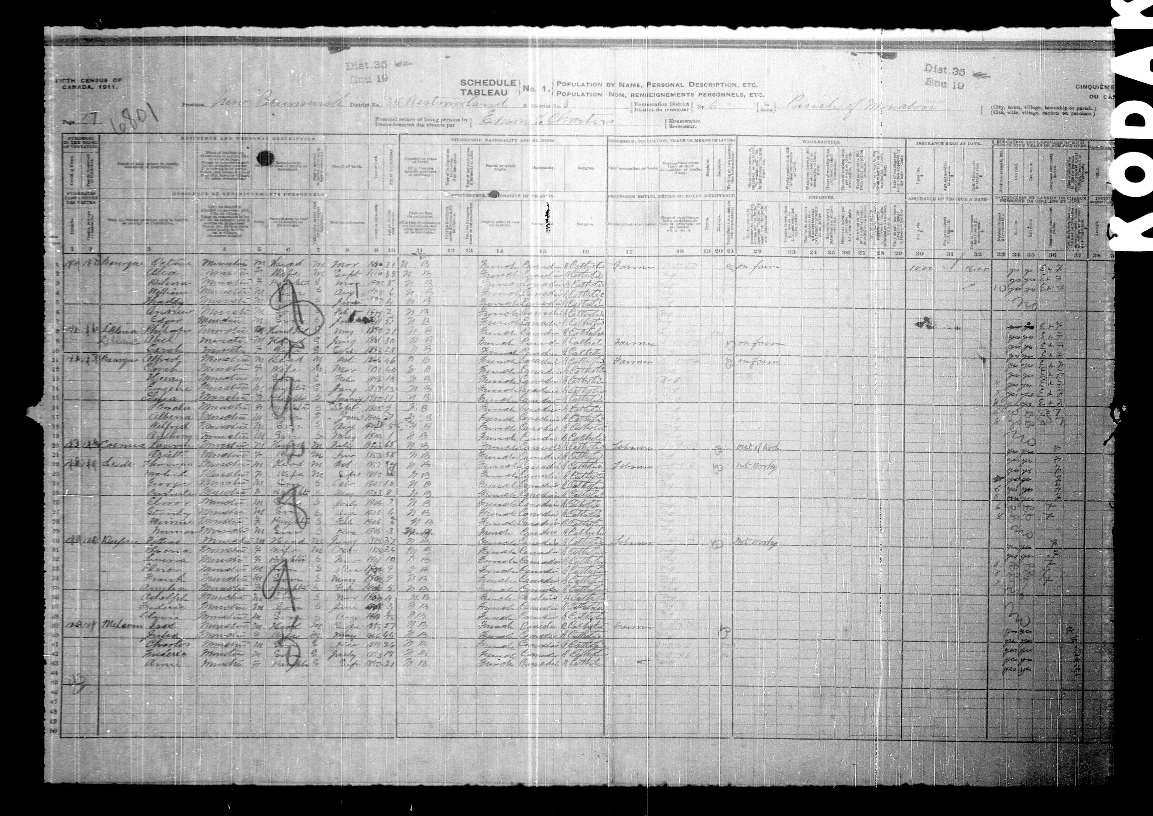 Digitized page of Census of Canada, 1911, Page number 17, for Alfred Bourque