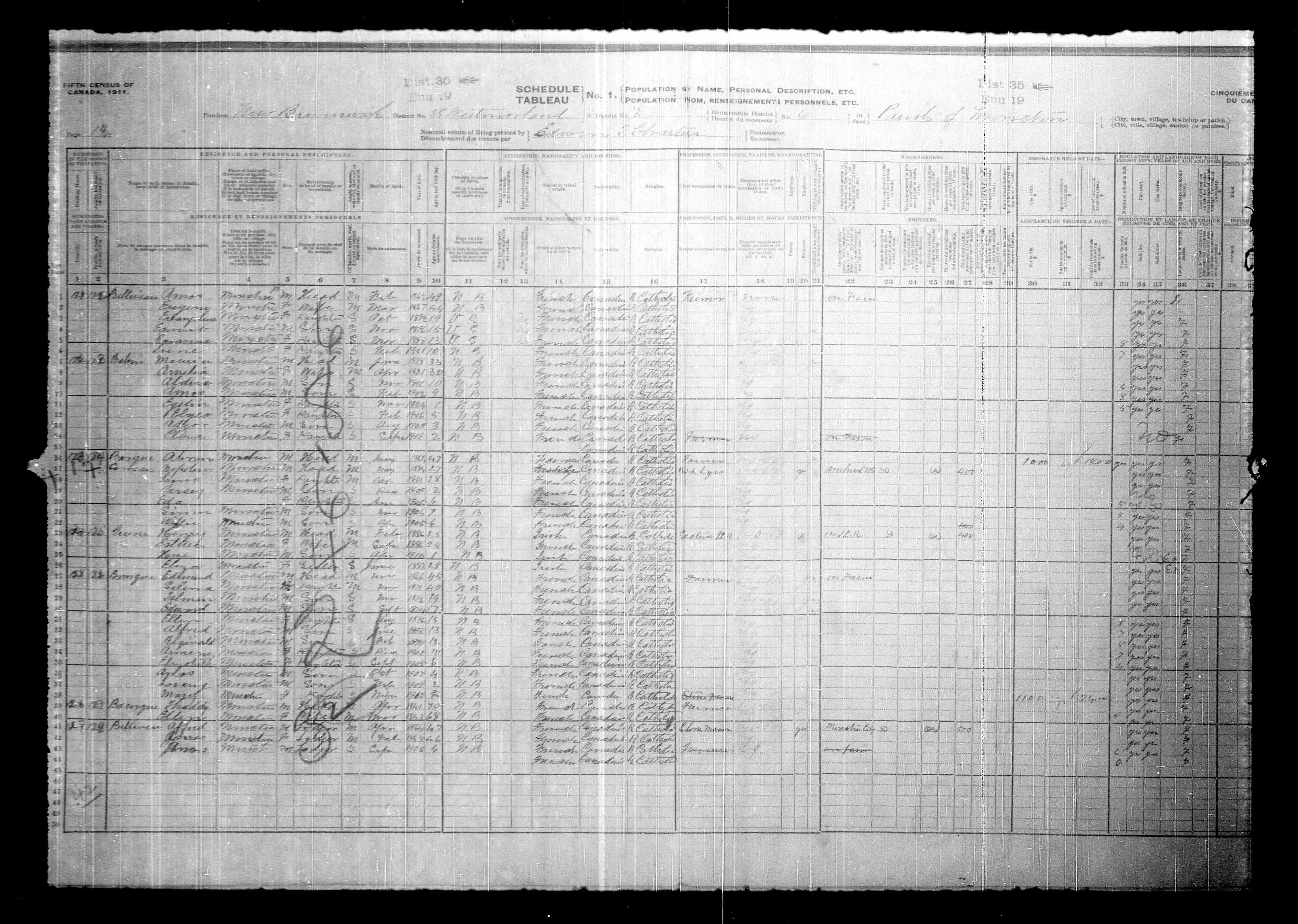 Digitized page of Census of Canada, 1911, Page number 18, for Edouard Bourque