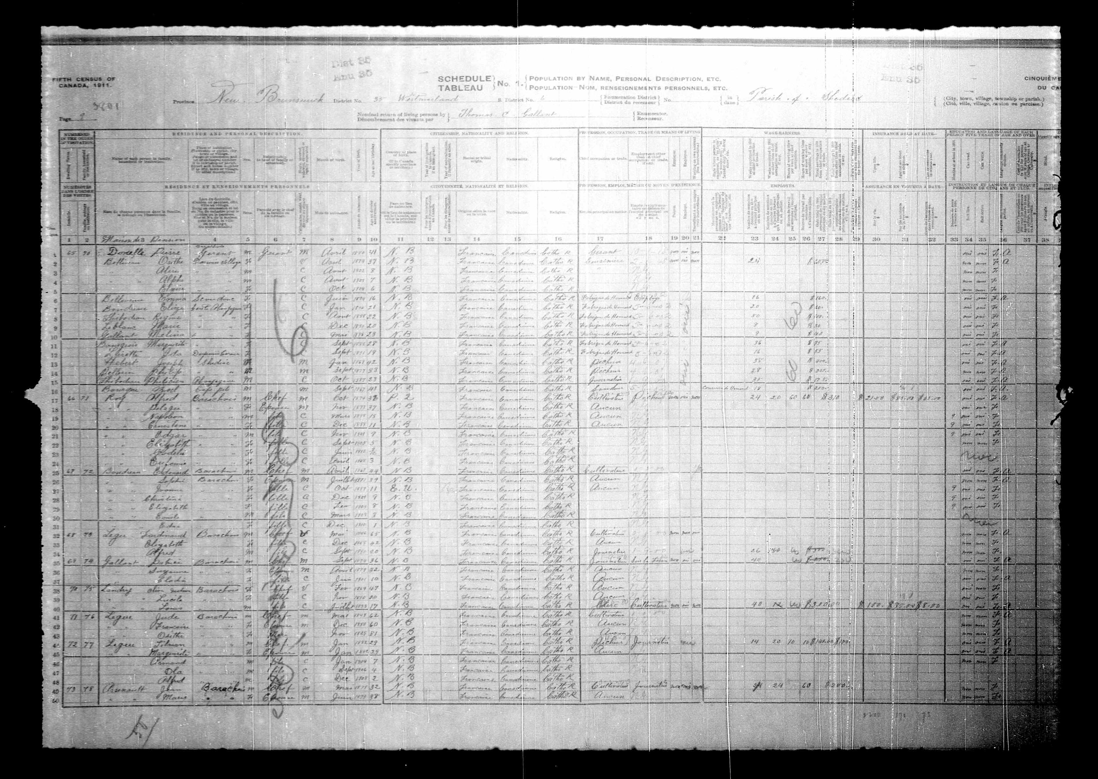 Digitized page of Census of Canada, 1911, Page number 9, for Tilman Legue