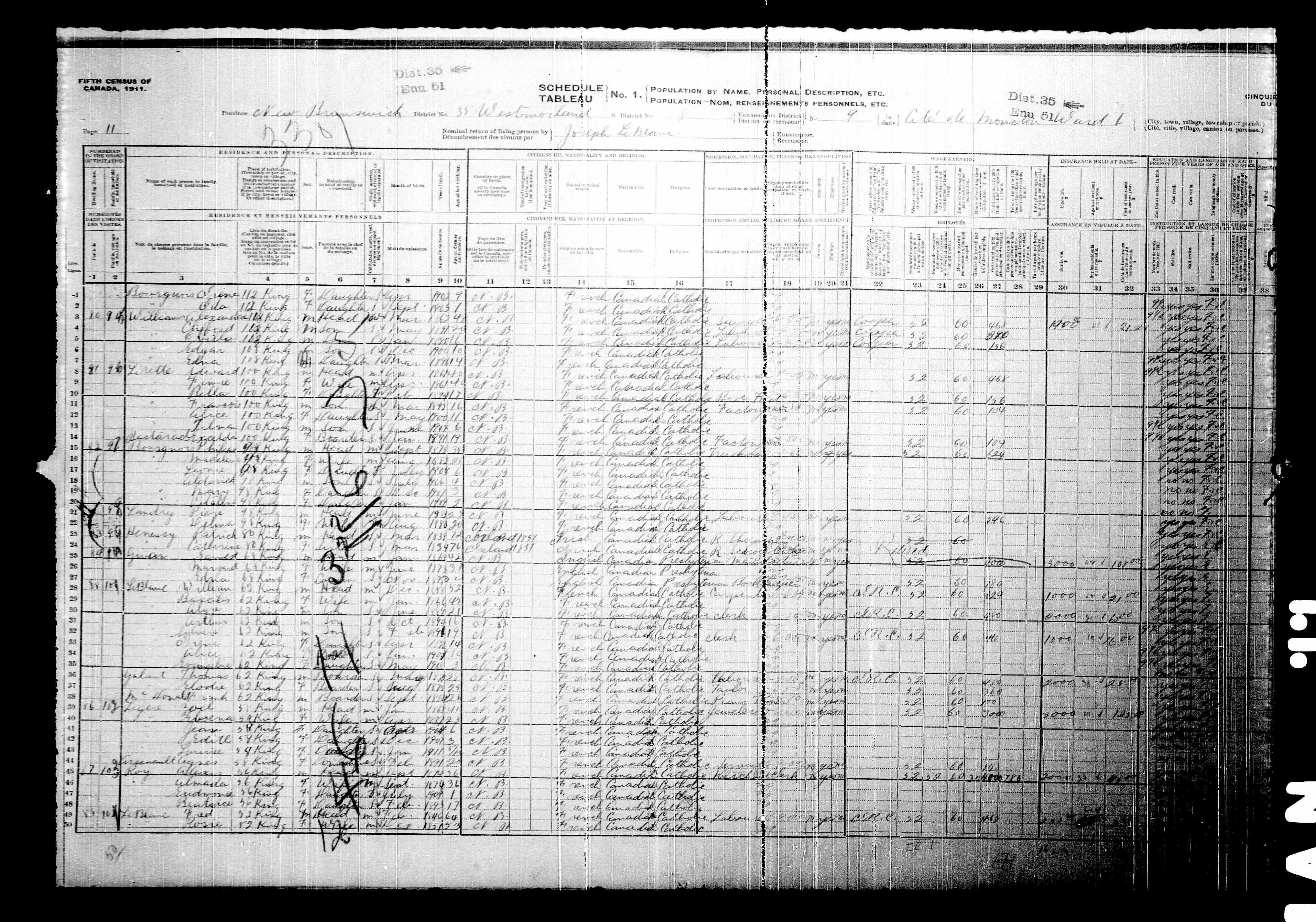 Digitized page of Census of Canada, 1911, Page number 11, for Zoel Legere