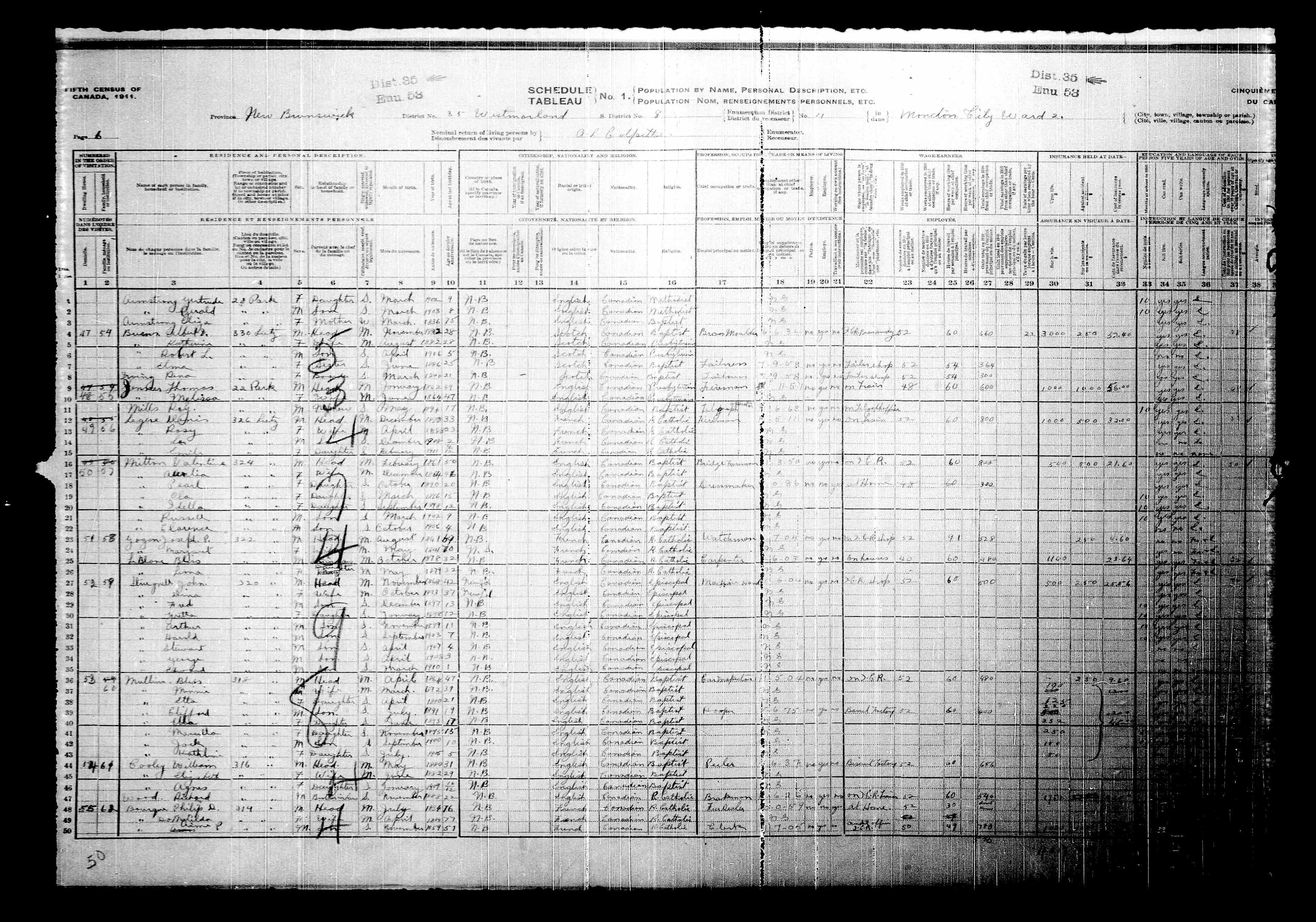 Digitized page of Census of Canada, 1911, Page number 6, for Danis Legere