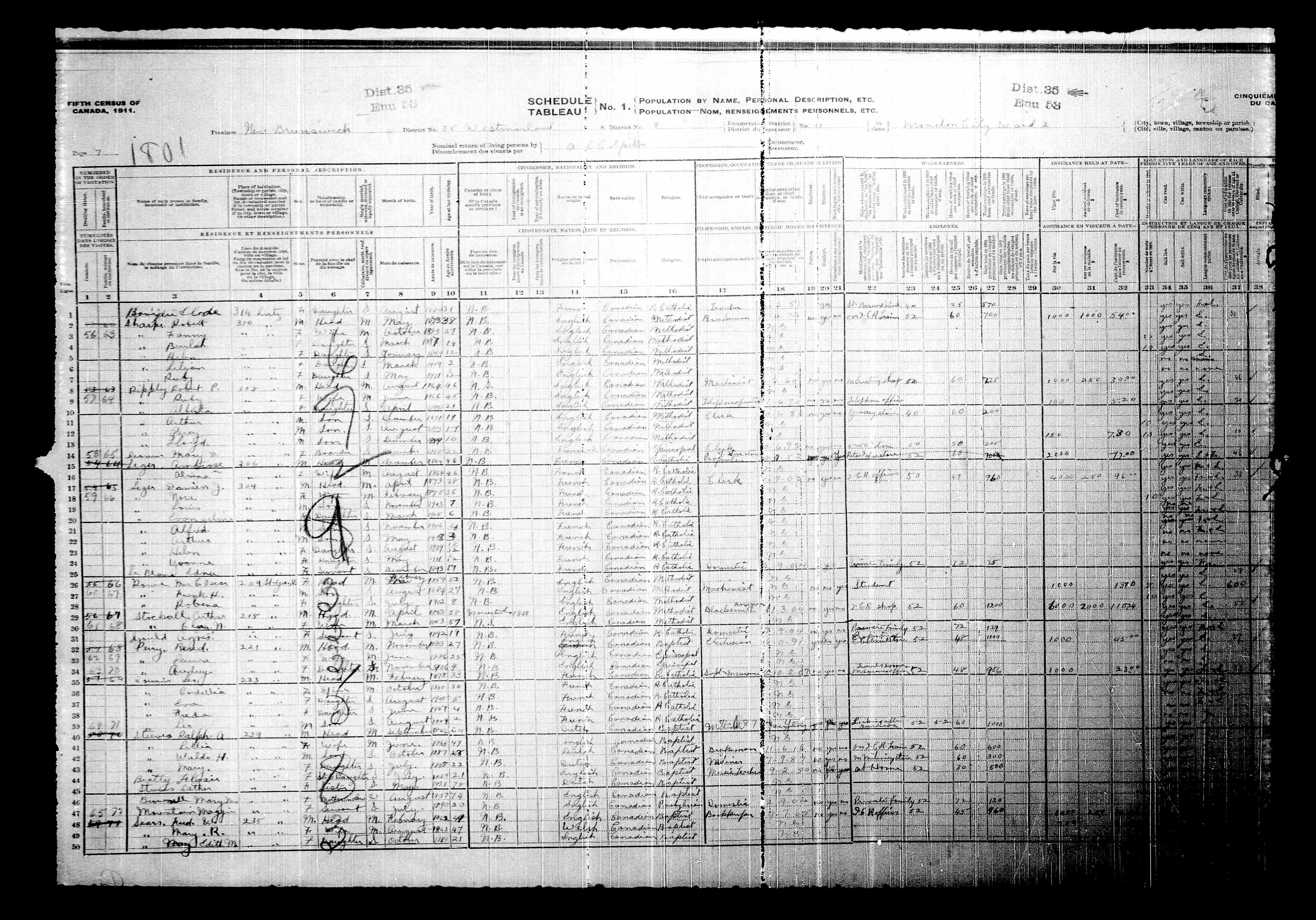 Digitized page of Census of Canada, 1911, Page number 7, for Amborse Leger