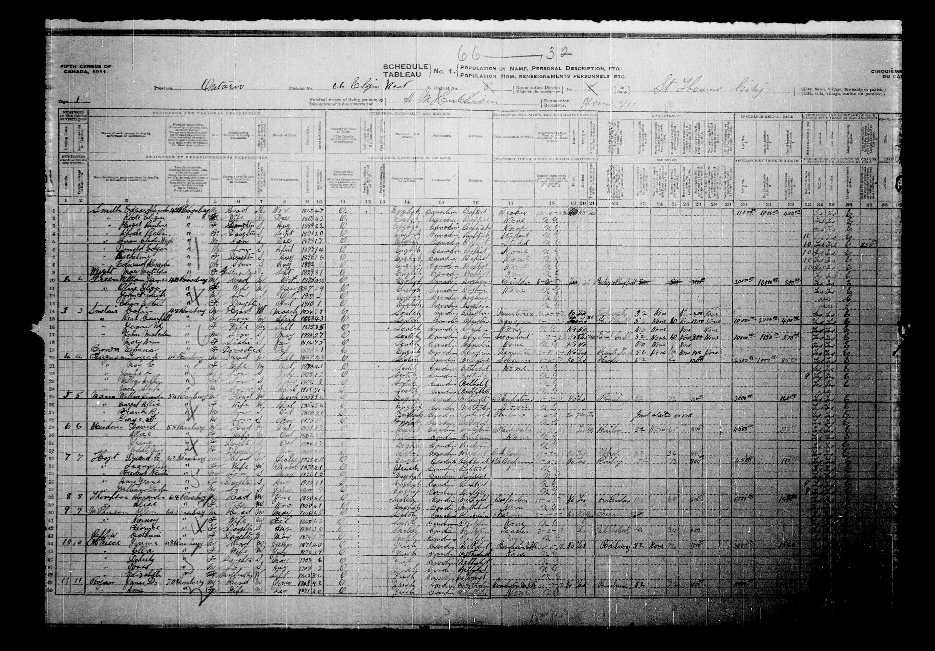 Digitized page of Census of Canada, 1911, Page number 1, for William Ja Green