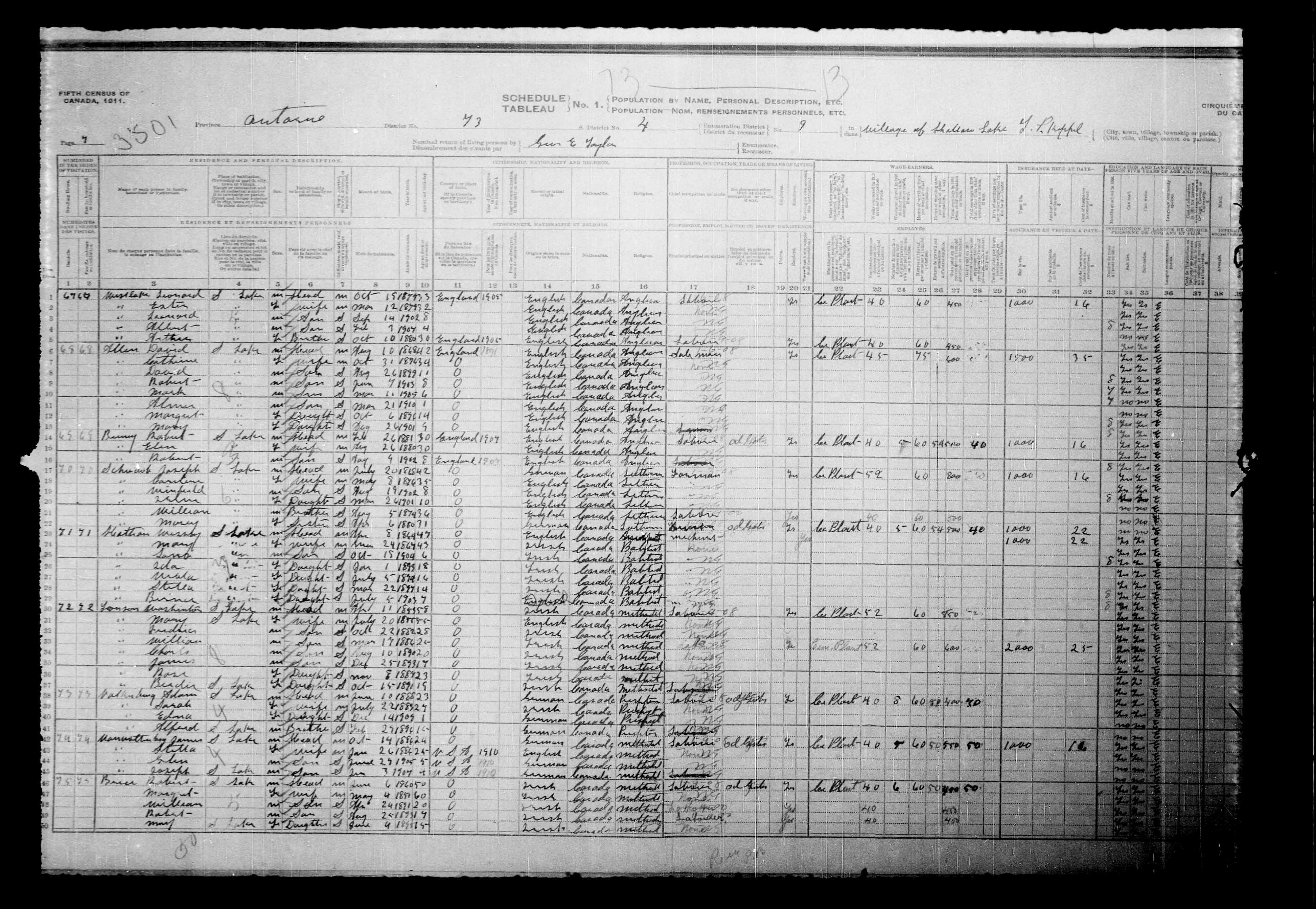 Digitized page of Census of Canada, 1911, Page number 7, for Adam Valkenburg