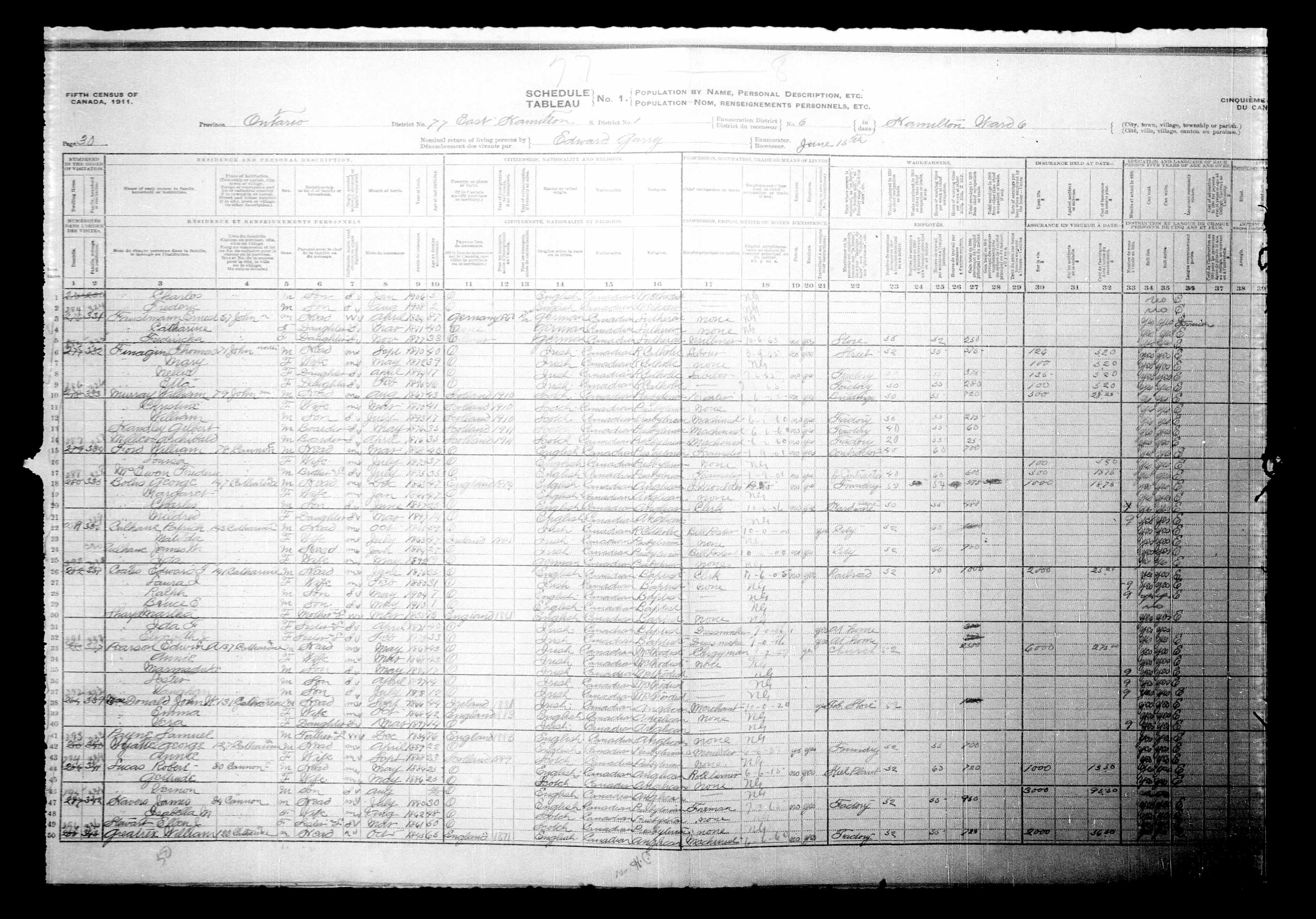 Digitized page of Census of Canada, 1911, Page number 30, for Lester Pearson
