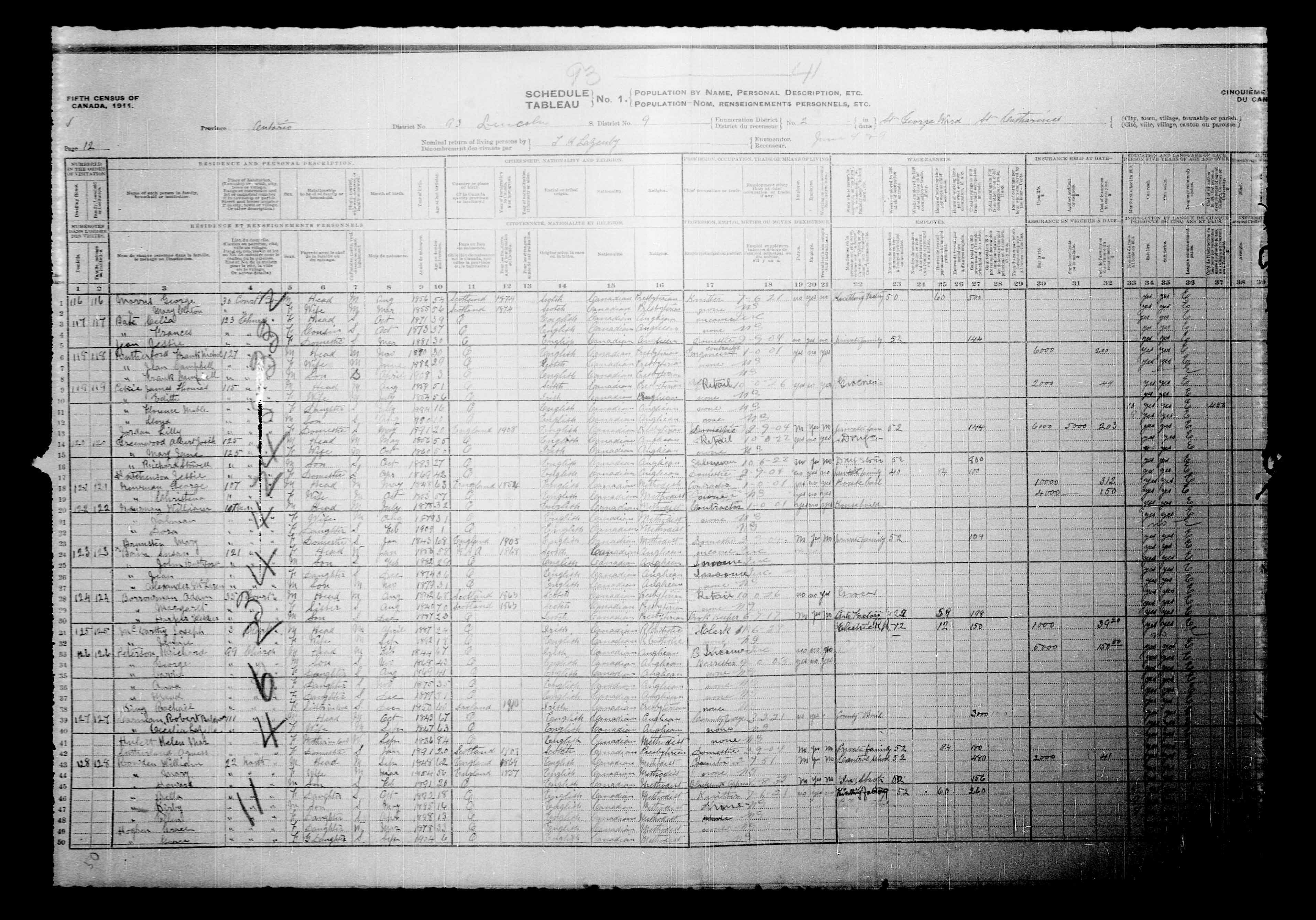 Digitized page of Census of Canada, 1911, Page number 12, for Harper Fletcher Borrowman