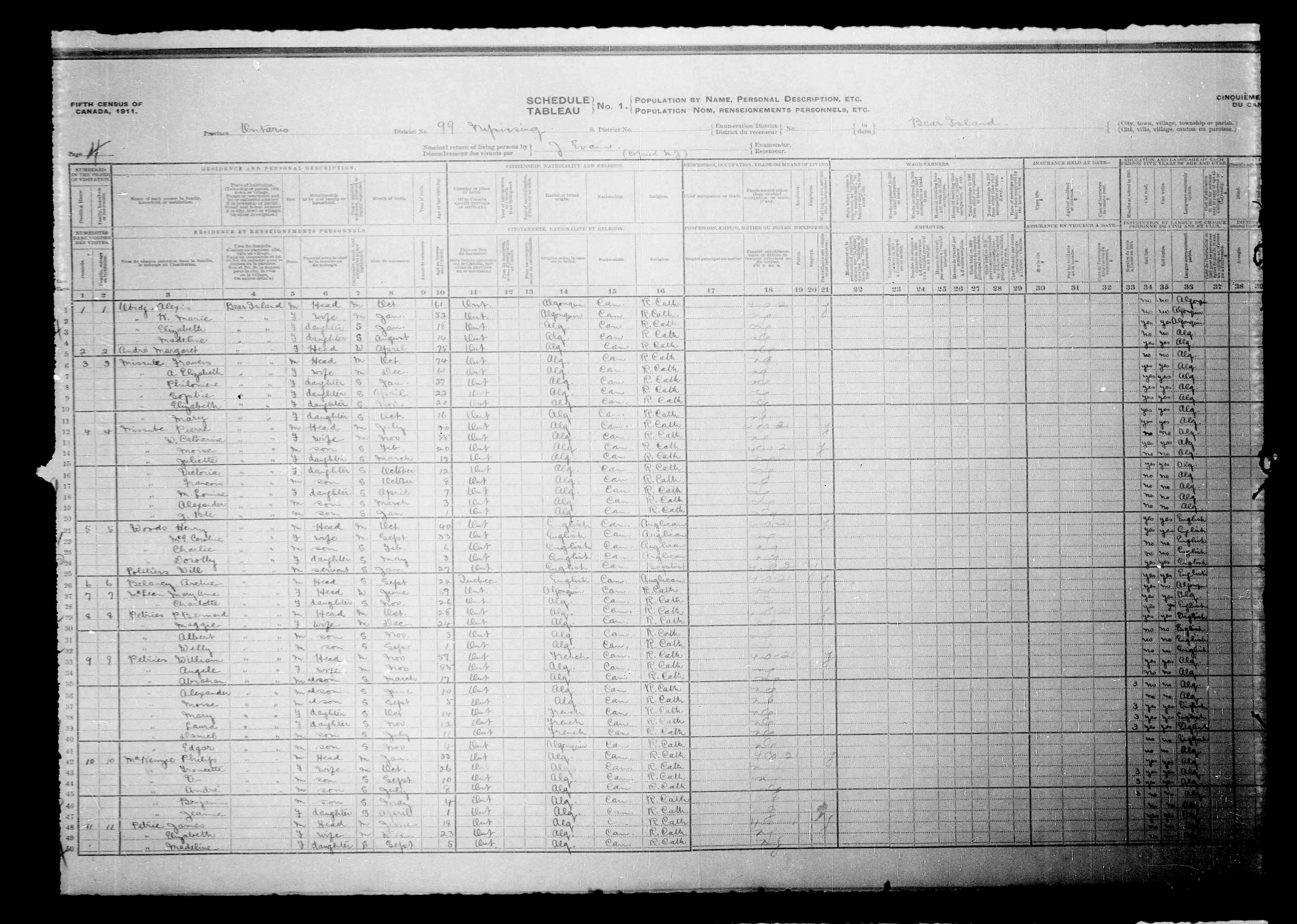 Digitized page of Census of Canada, 1911, Page number 4, for Archie Belaney