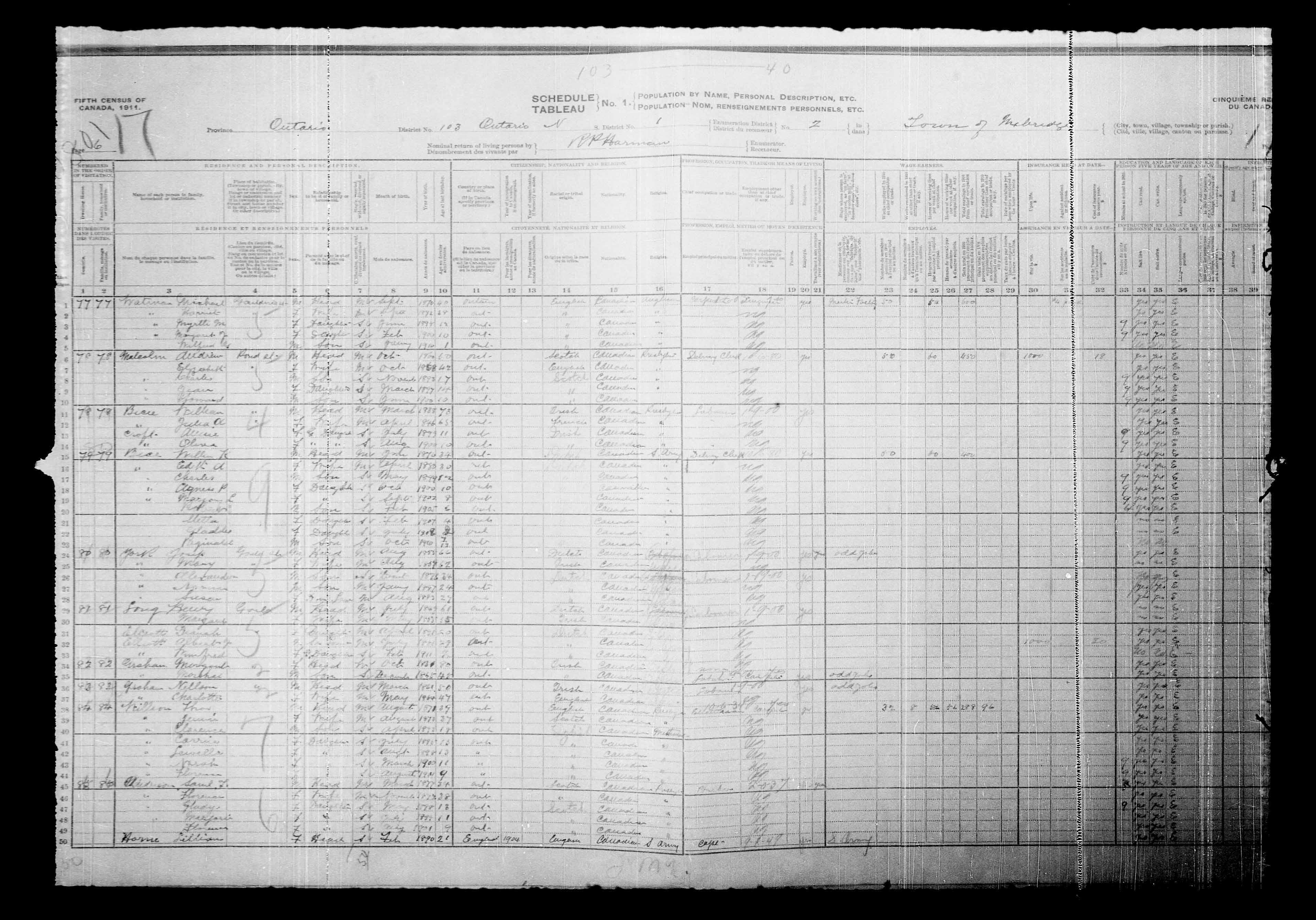 Digitized page of Census of Canada, 1911, Page number 6, for Marchel Archan