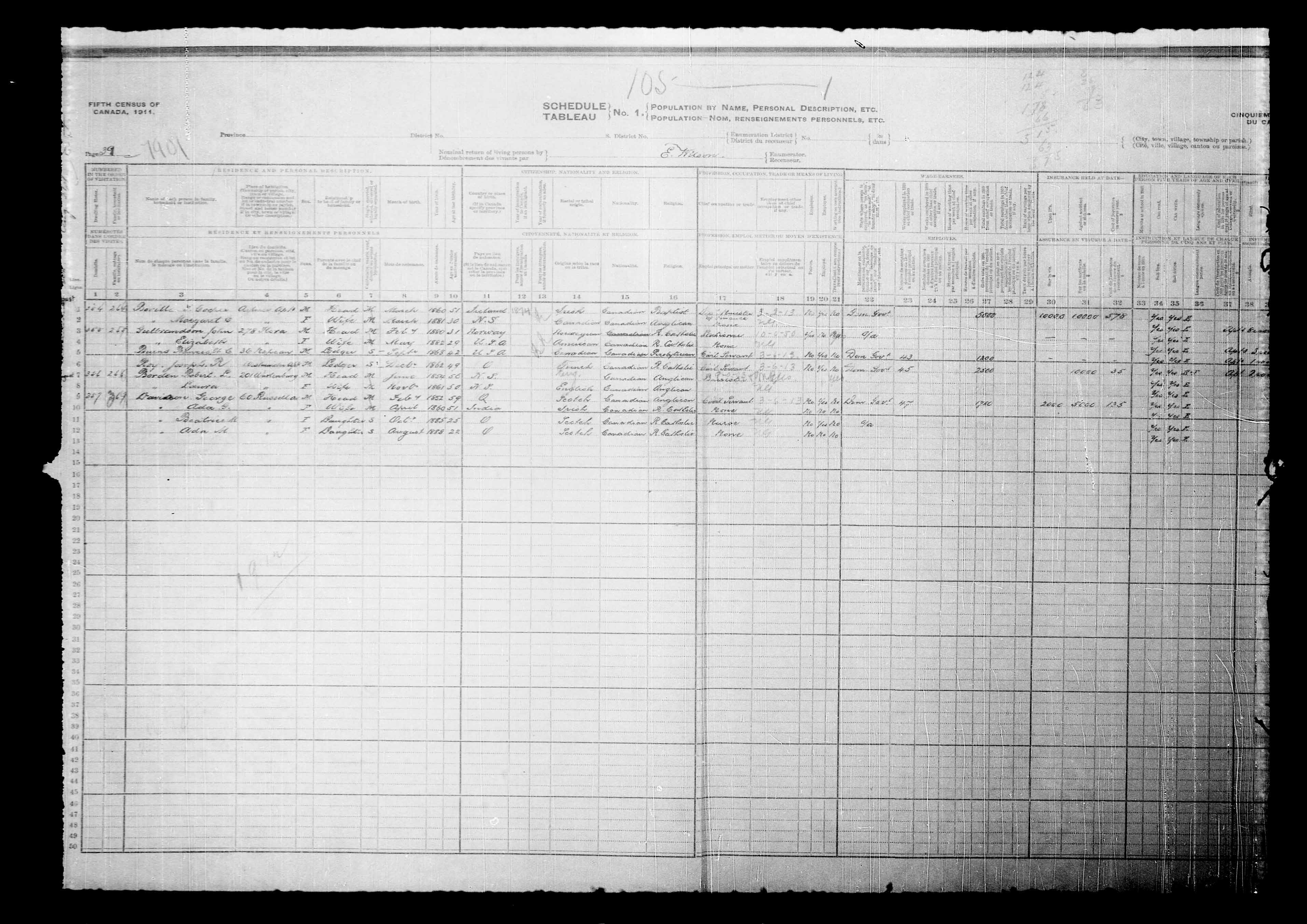 Digitized page of Census of Canada, 1911, Page number 39, for Robert L Borden
