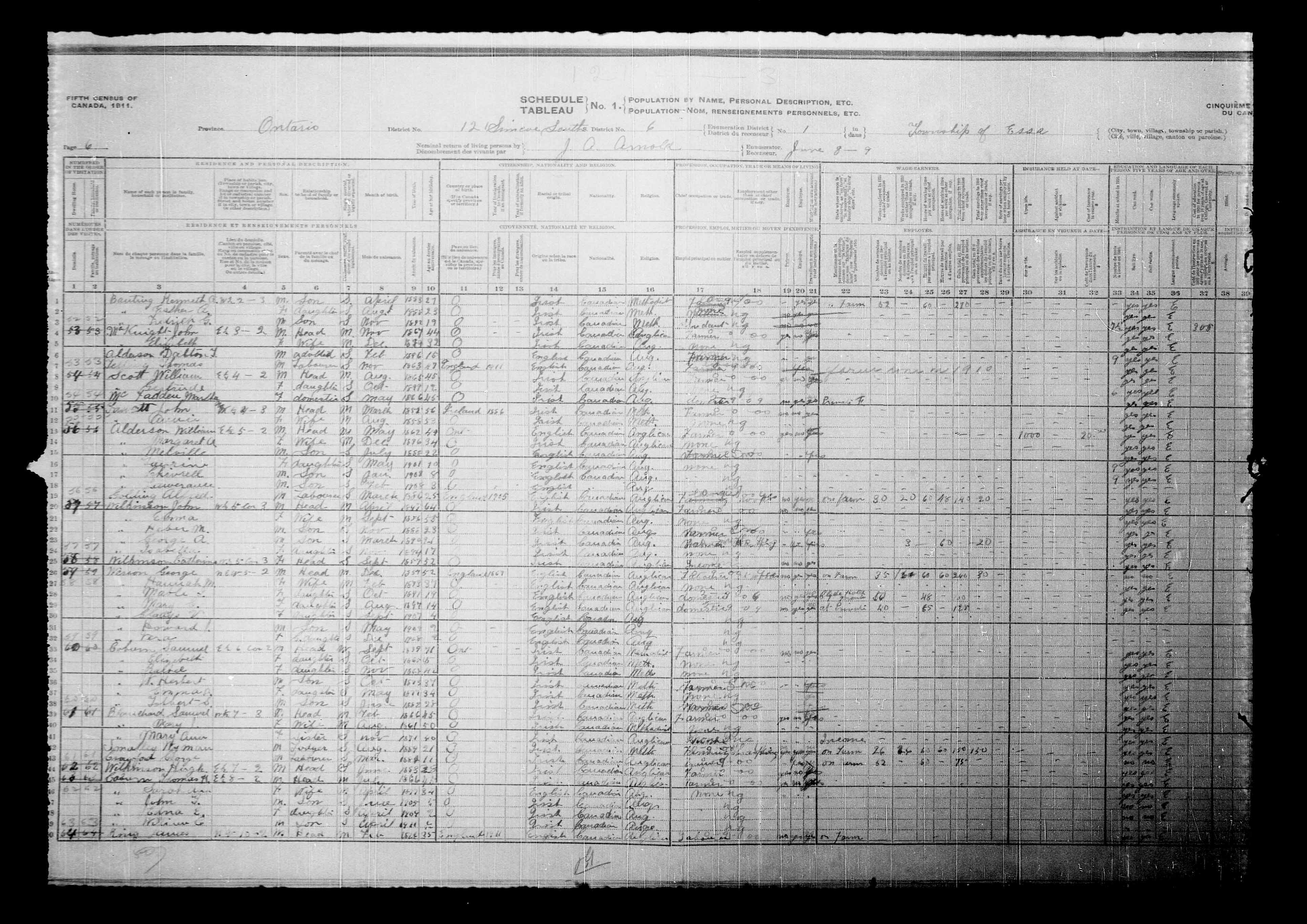 Digitized page of Census of Canada, 1911, Page number 6, for Fredrick G Banting
