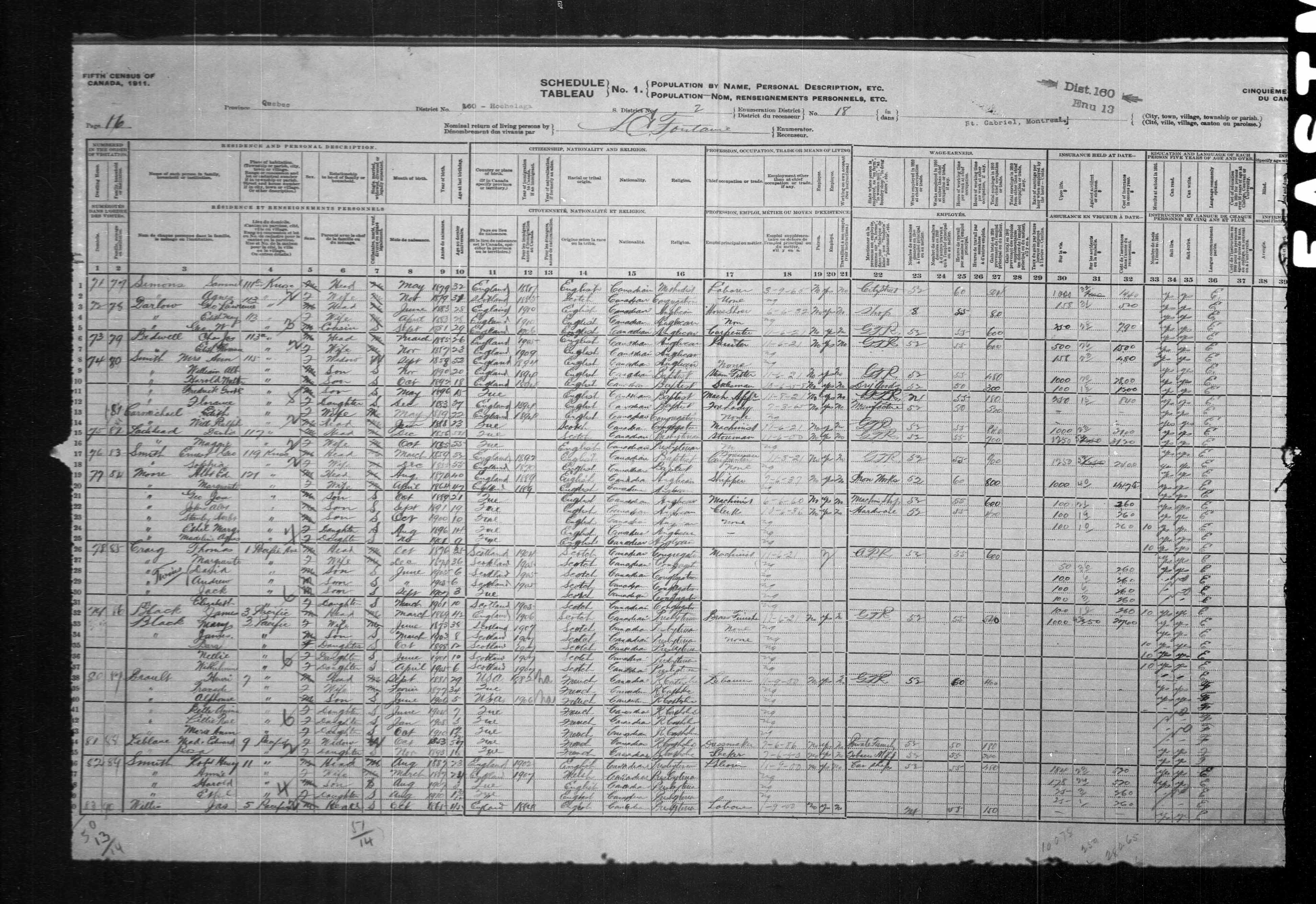 Digitized page of Census of Canada, 1911, Page number 16, for Edith Carmichael