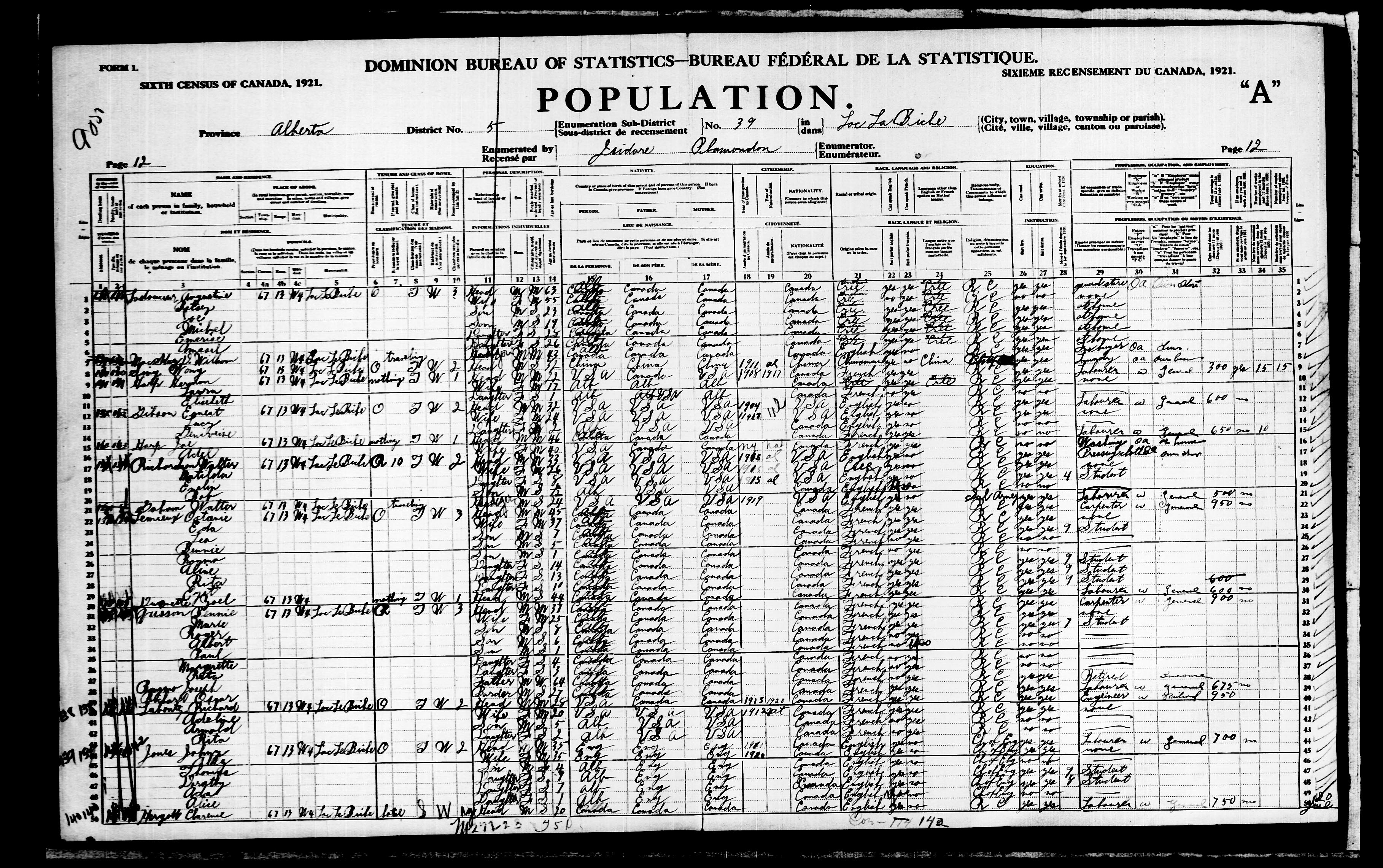 Digitized page of Census of Canada, 1921, Page number 12, for Joe Harp