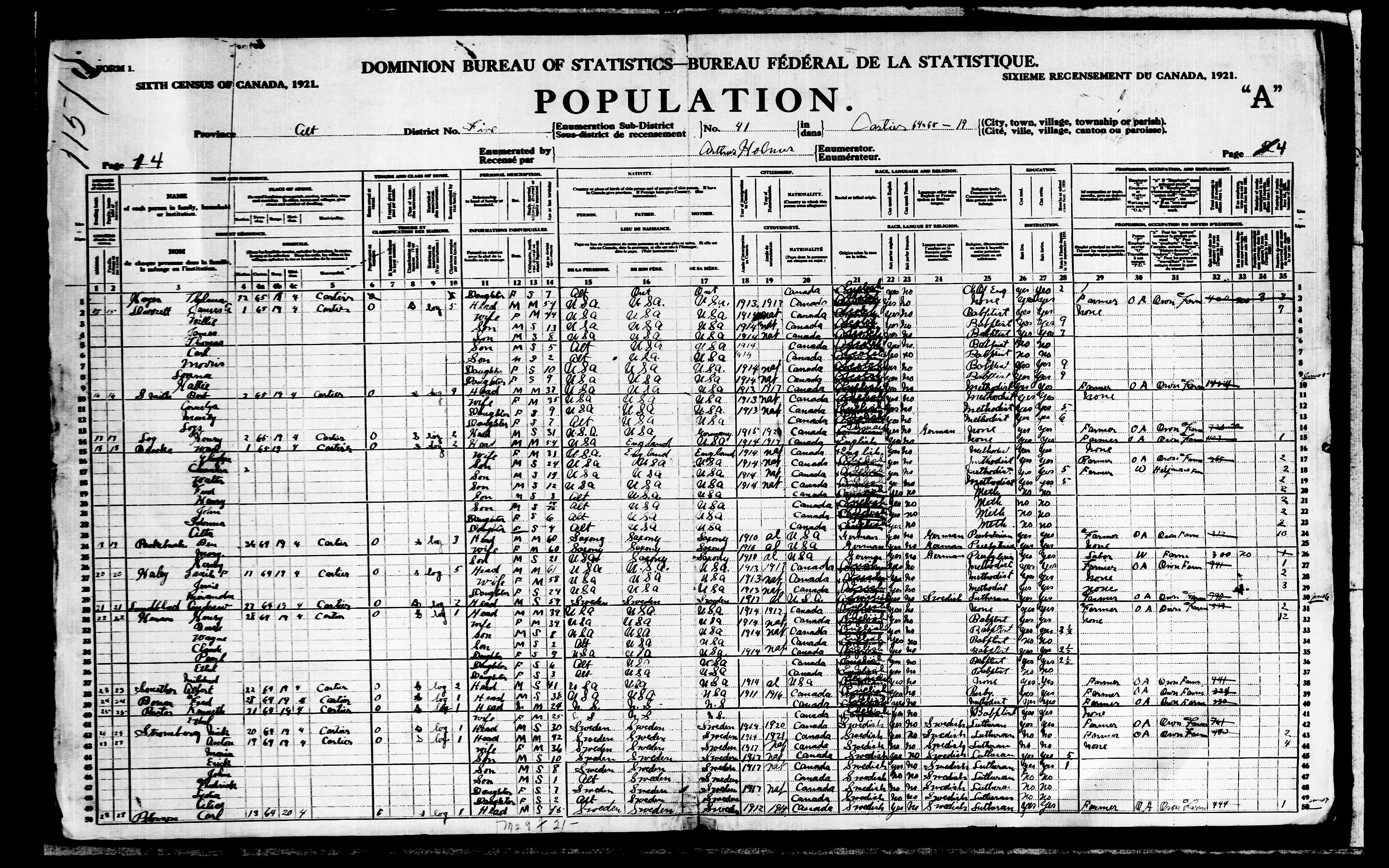 Digitized page of Census of Canada, 1921, Page number 4, for Claude Henson