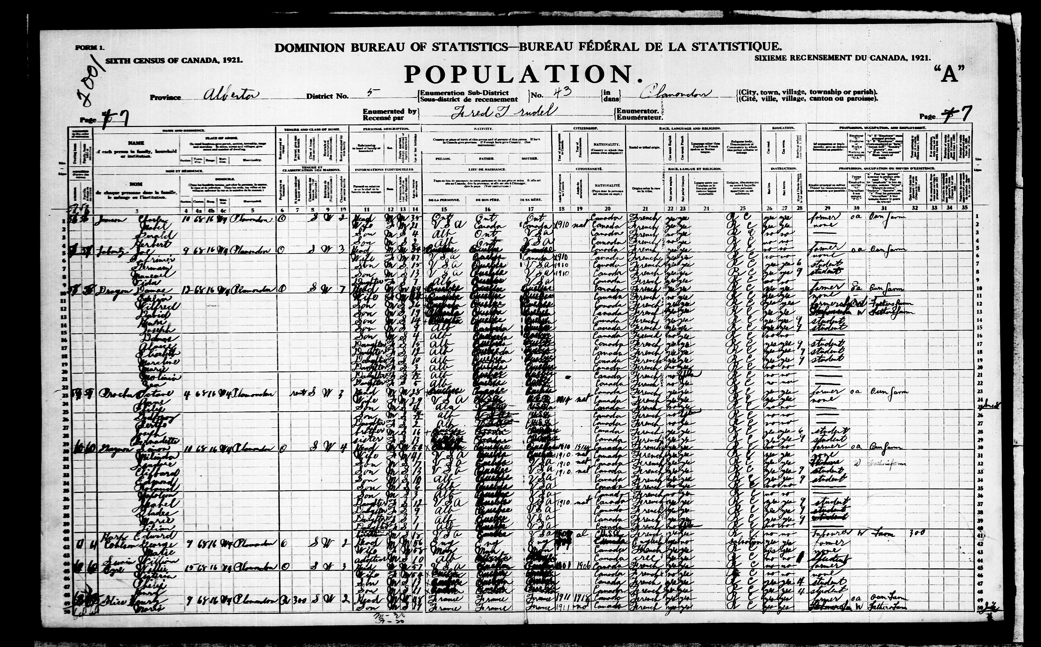 Digitized page of Census of Canada, 1921, Page number 7, for George Coulson