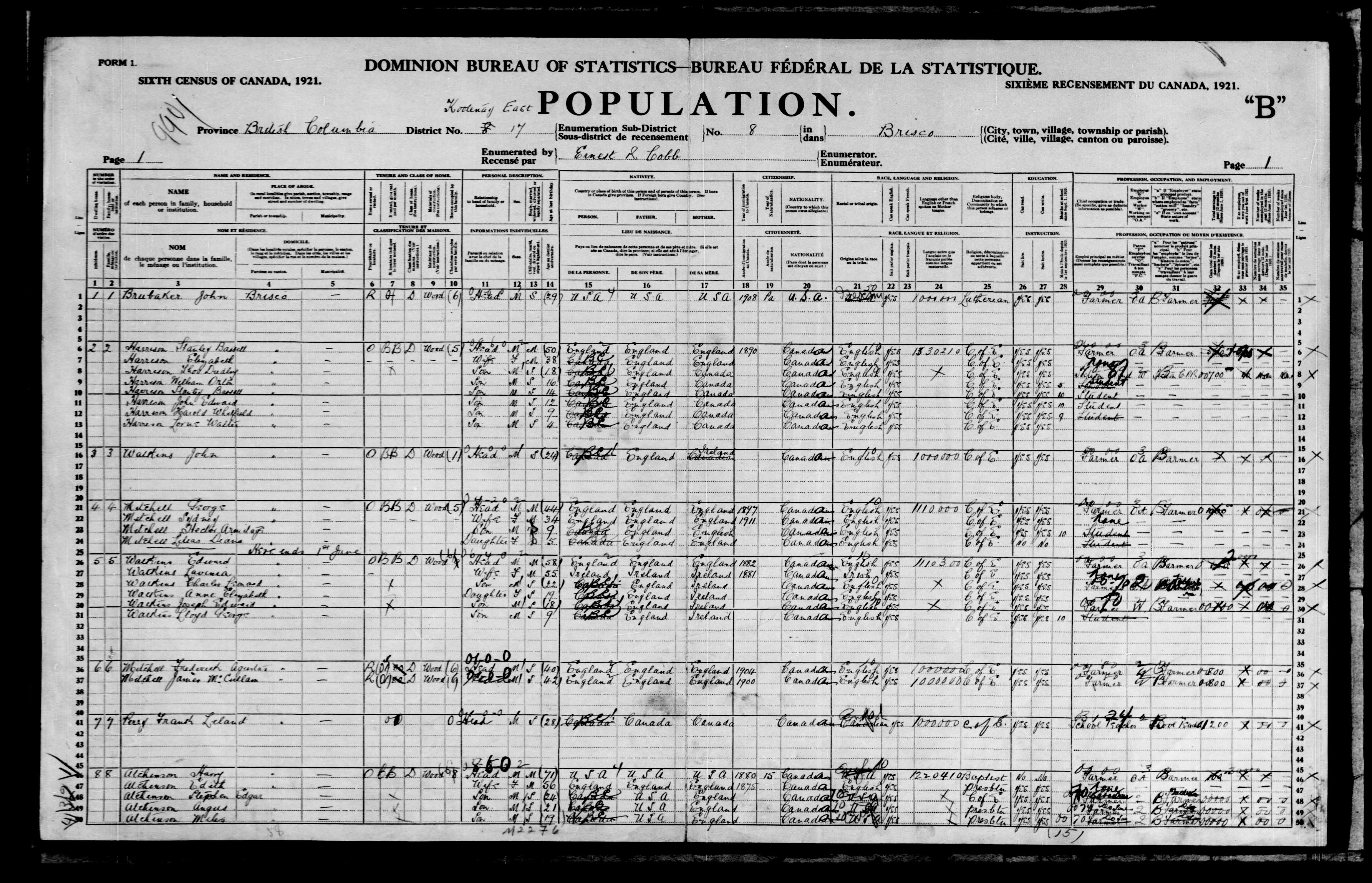 Digitized page of Census of Canada, 1921, Page number 1, for Charles Leonard Watkins