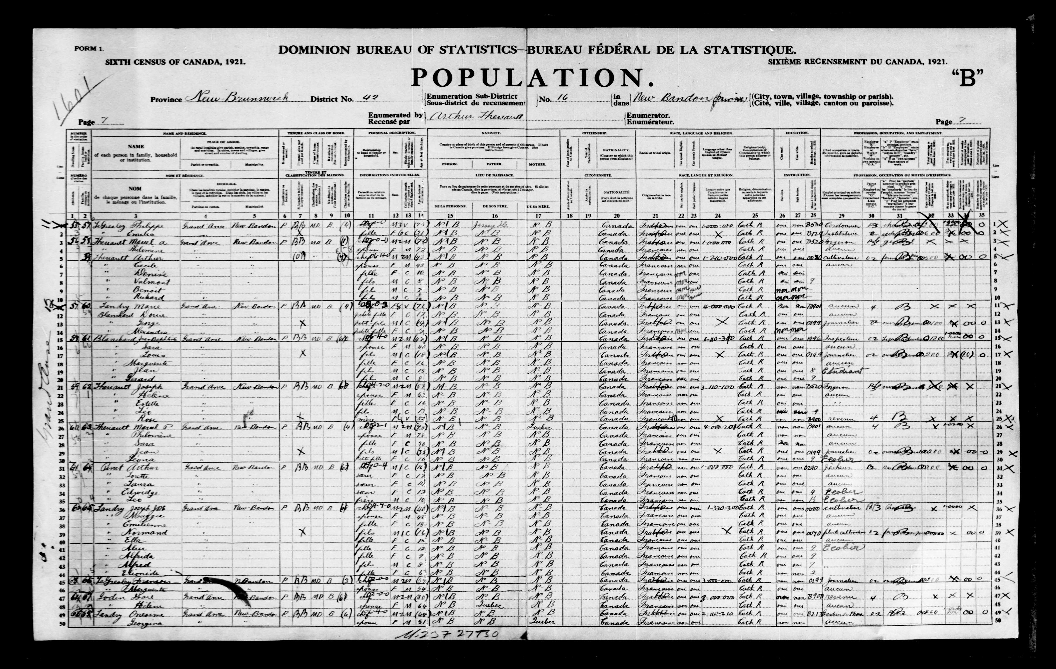 Digitized page of Census of Canada, 1921, Page number 7, for Marcel A Theriault