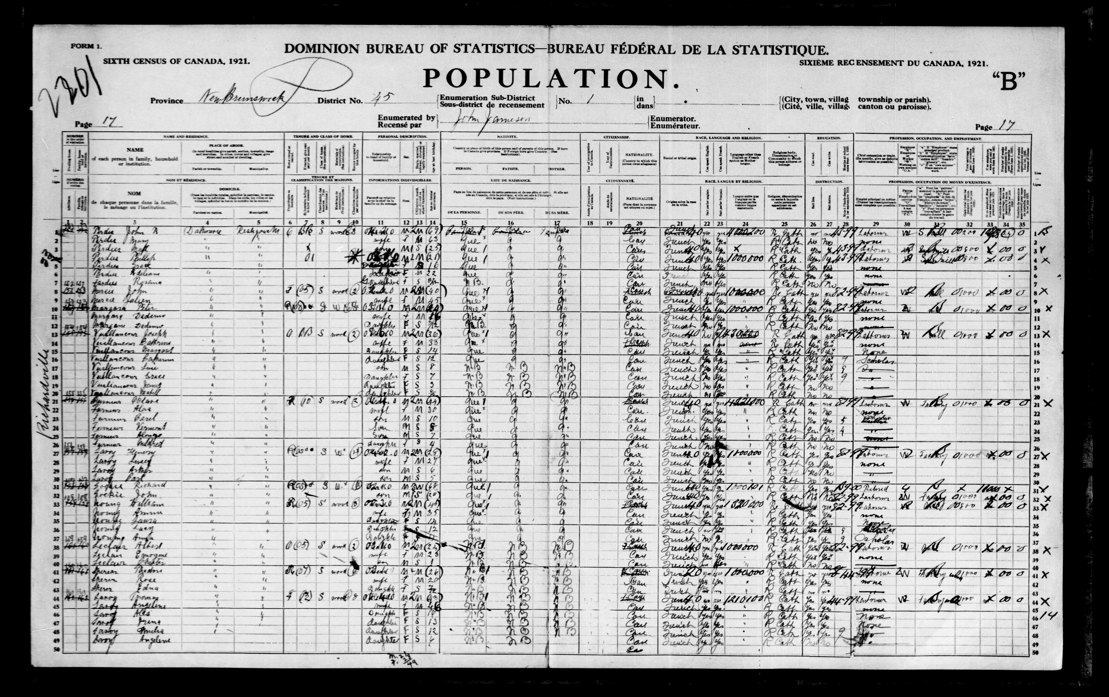 Digitized page of Census of Canada, 1921, Page number 17, for Albert Leclair