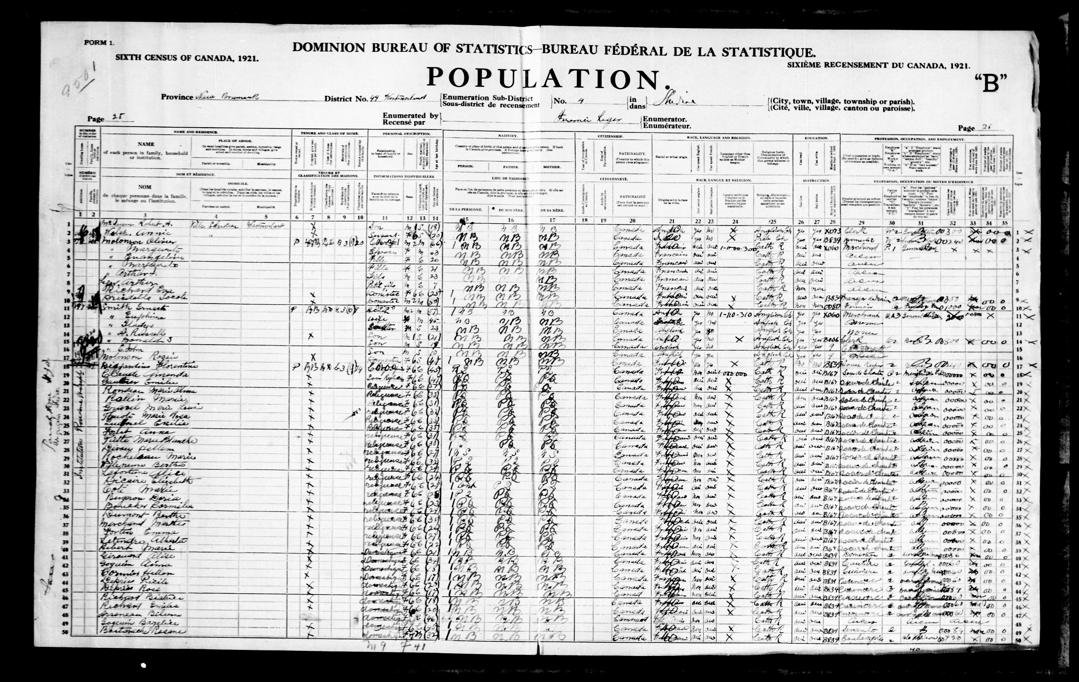 Digitized page of Census of Canada, 1921, Page number 26, for Alwin Molonson