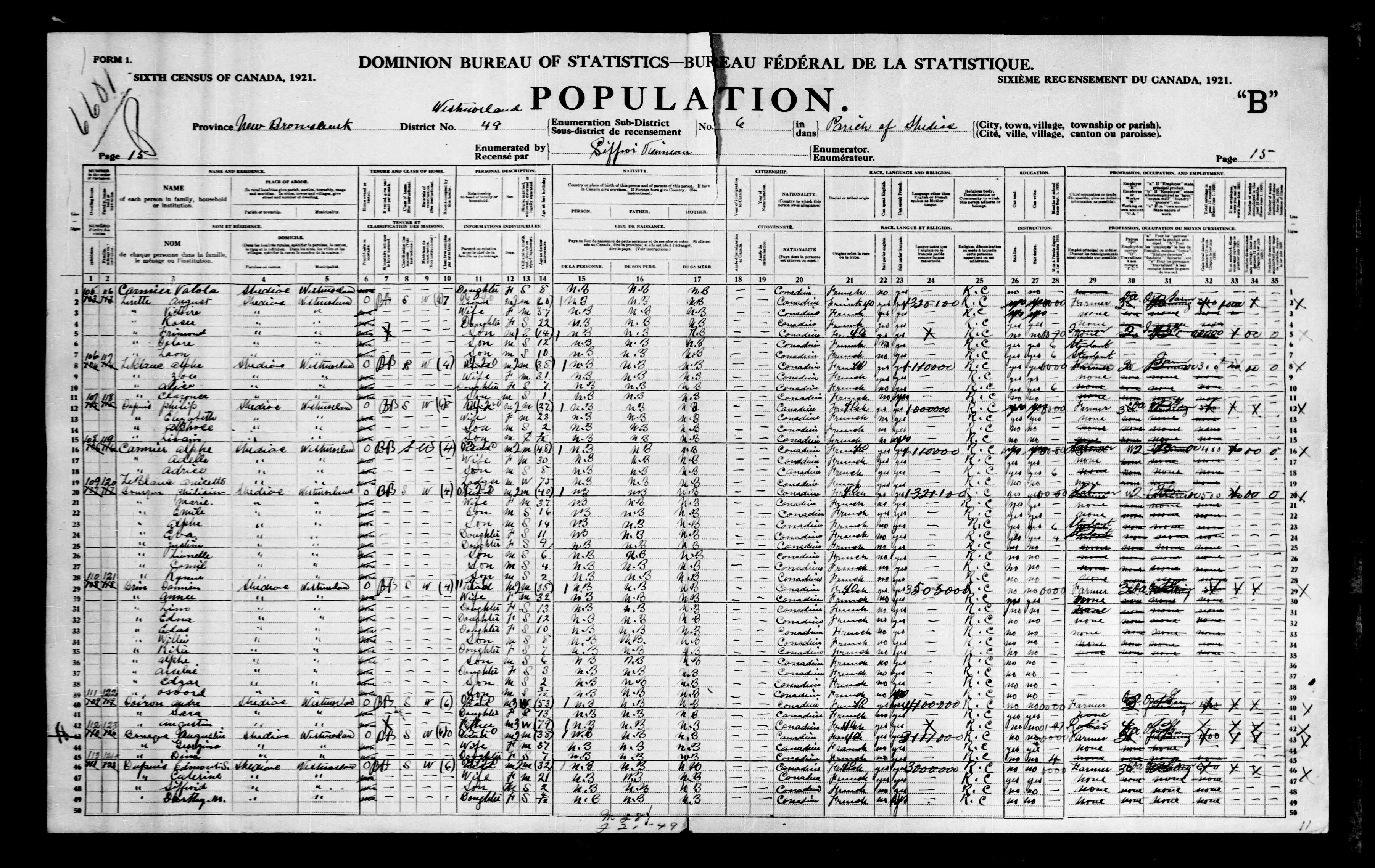 Digitized page of Census of Canada, 1921, Page number 15, for Alphe Cormier