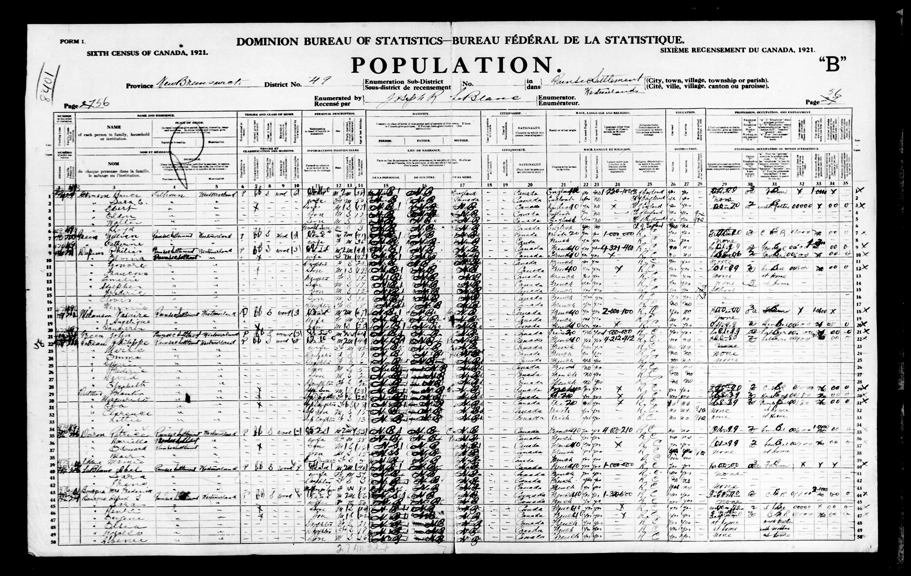 Digitized page of Census of Canada, 1921, Page number 56, for Alfred I Bourque