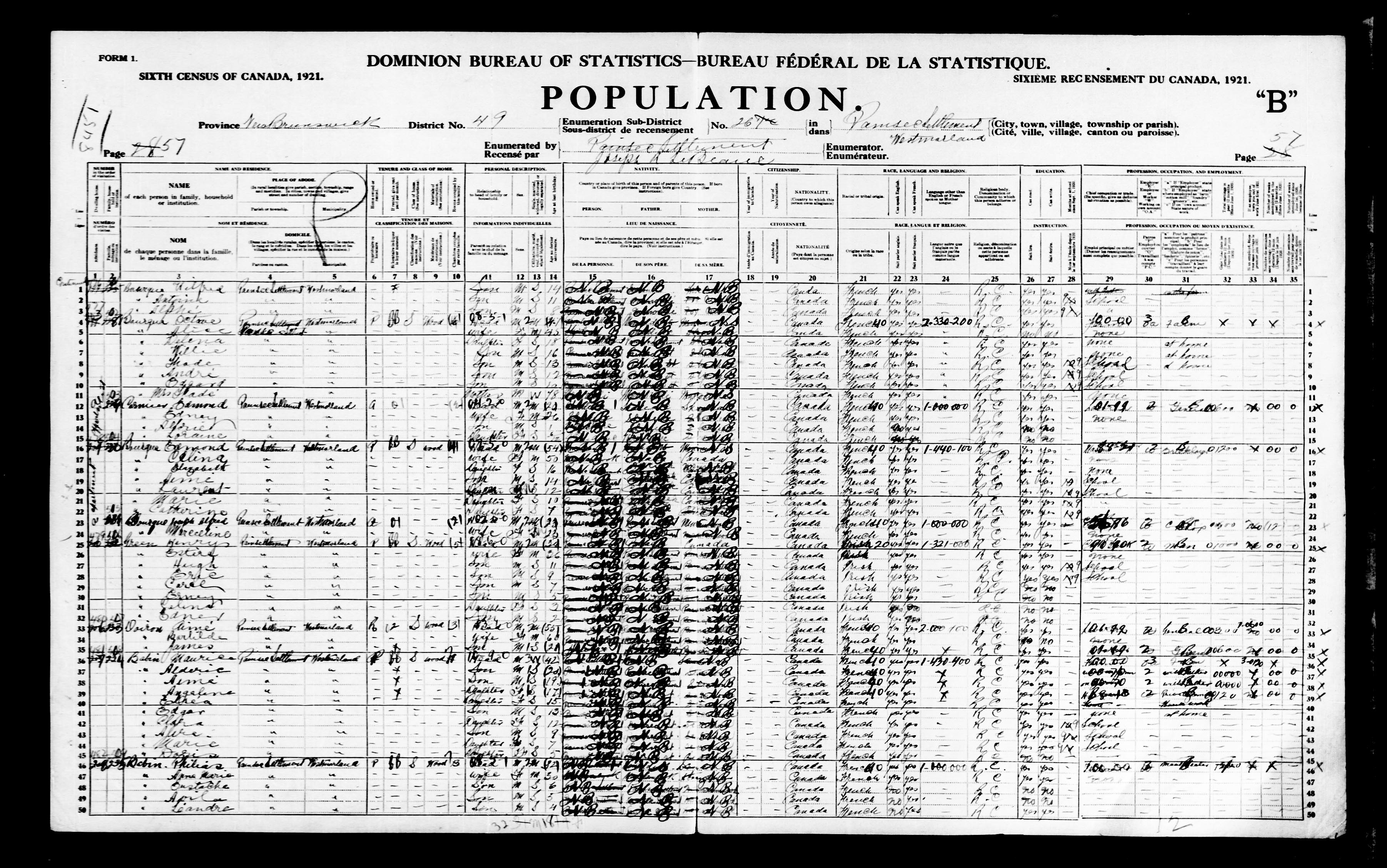 Digitized page of Census of Canada, 1921, Page number 57, for Edmond Bourque