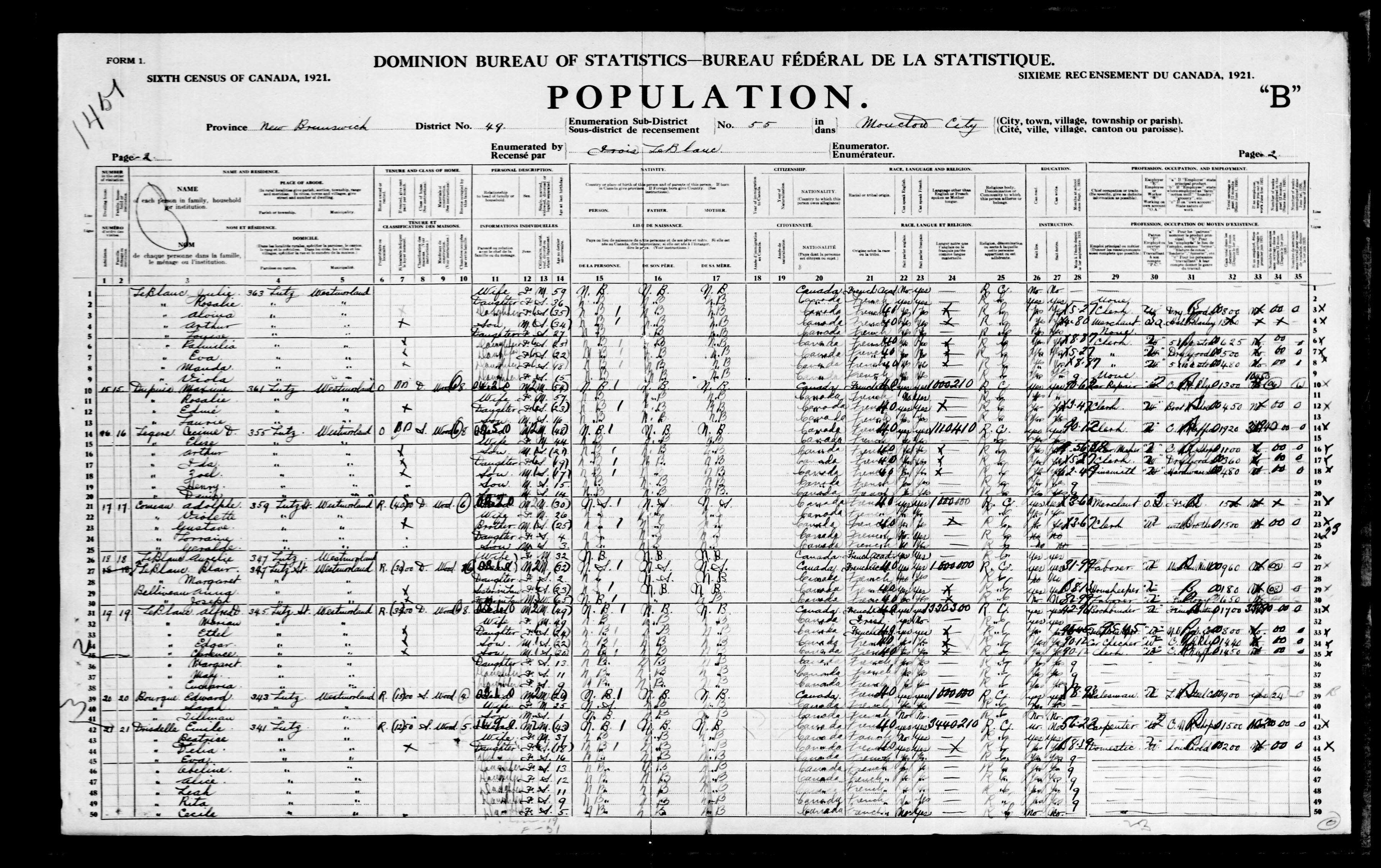 Digitized page of Census of Canada, 1921, Page number 2, for Blair LeBlanc