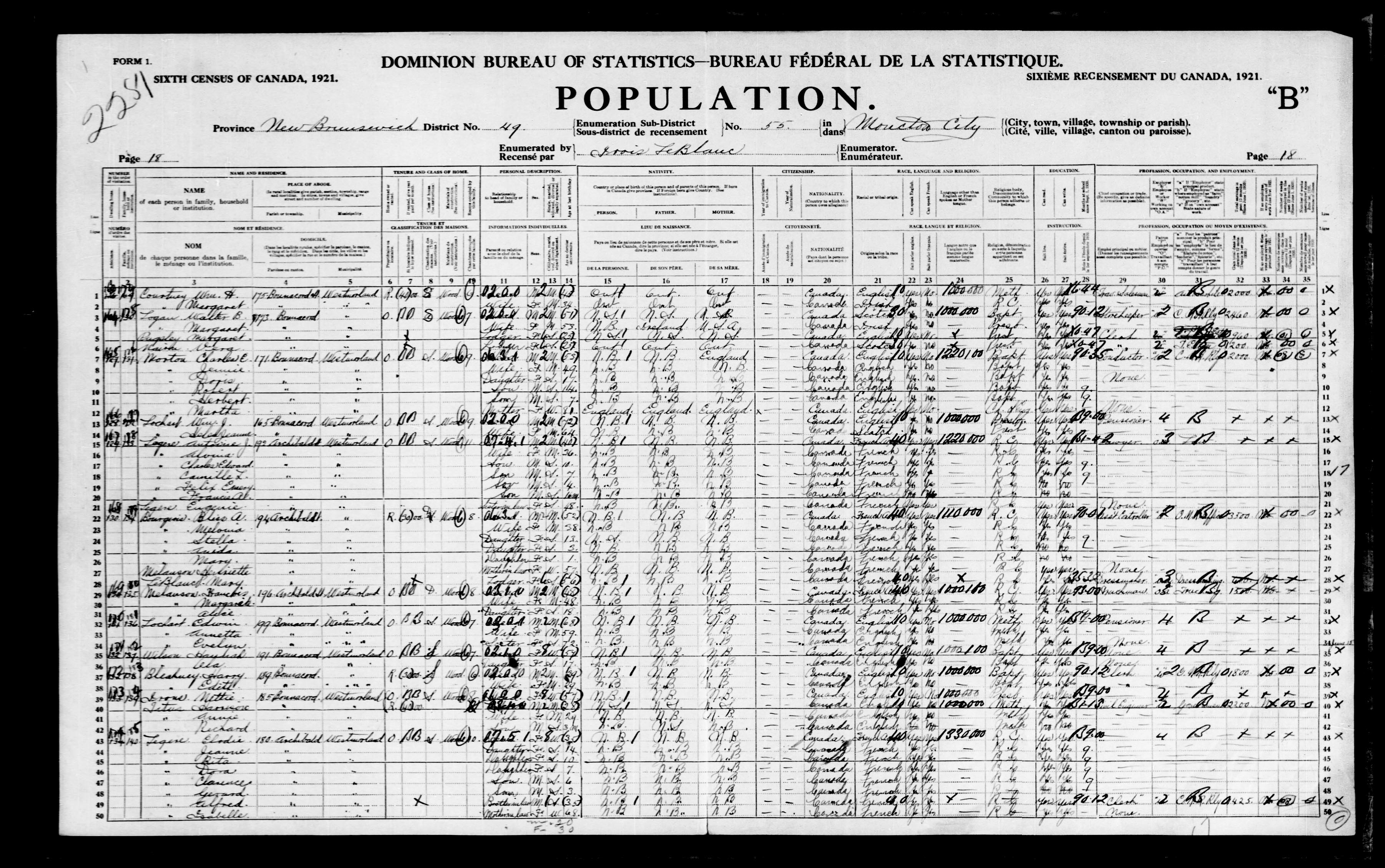 Digitized page of Census of Canada, 1921, Page number 18, for Elodie Legere