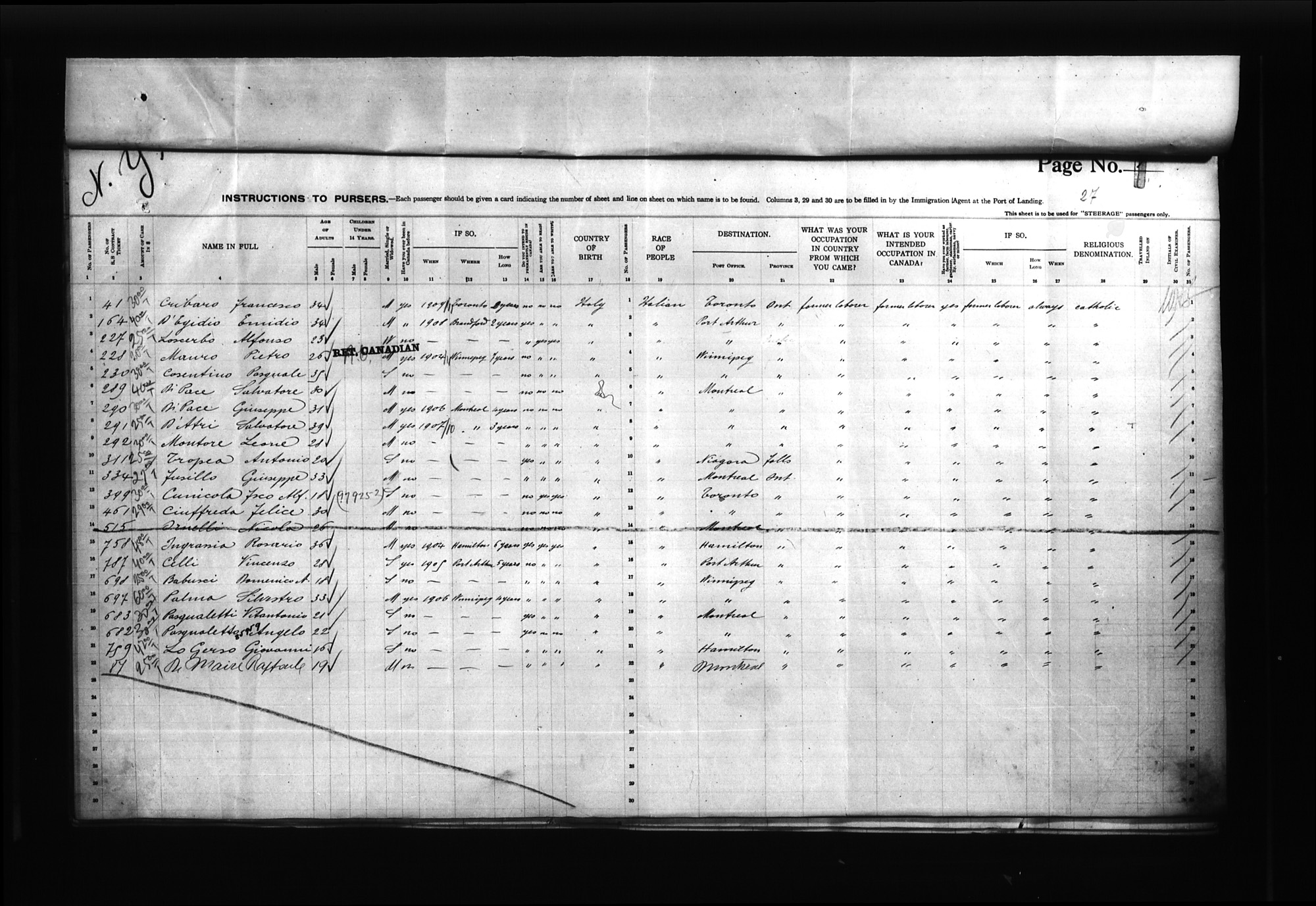 Item: Passenger lists of the VENEZIA arriving in New York