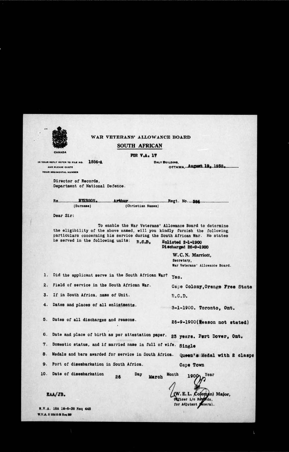 Digitized page of Boer War for Image No.: e002199329