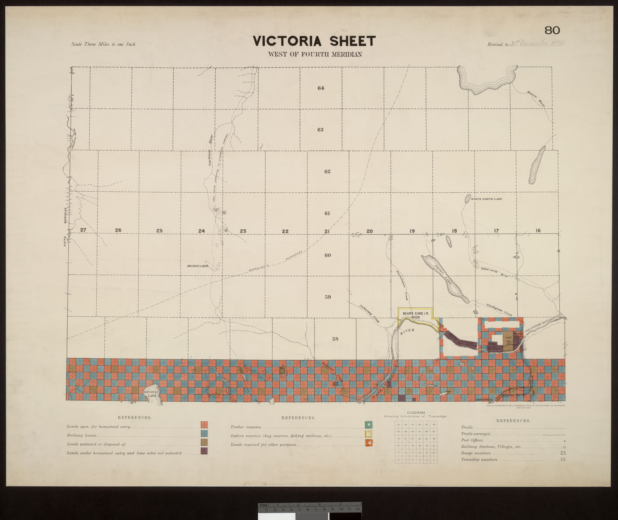 Digitized image of map no. 80, Victoria, west of the fourth meridian, MIKAN 3705295, image number e003004453
