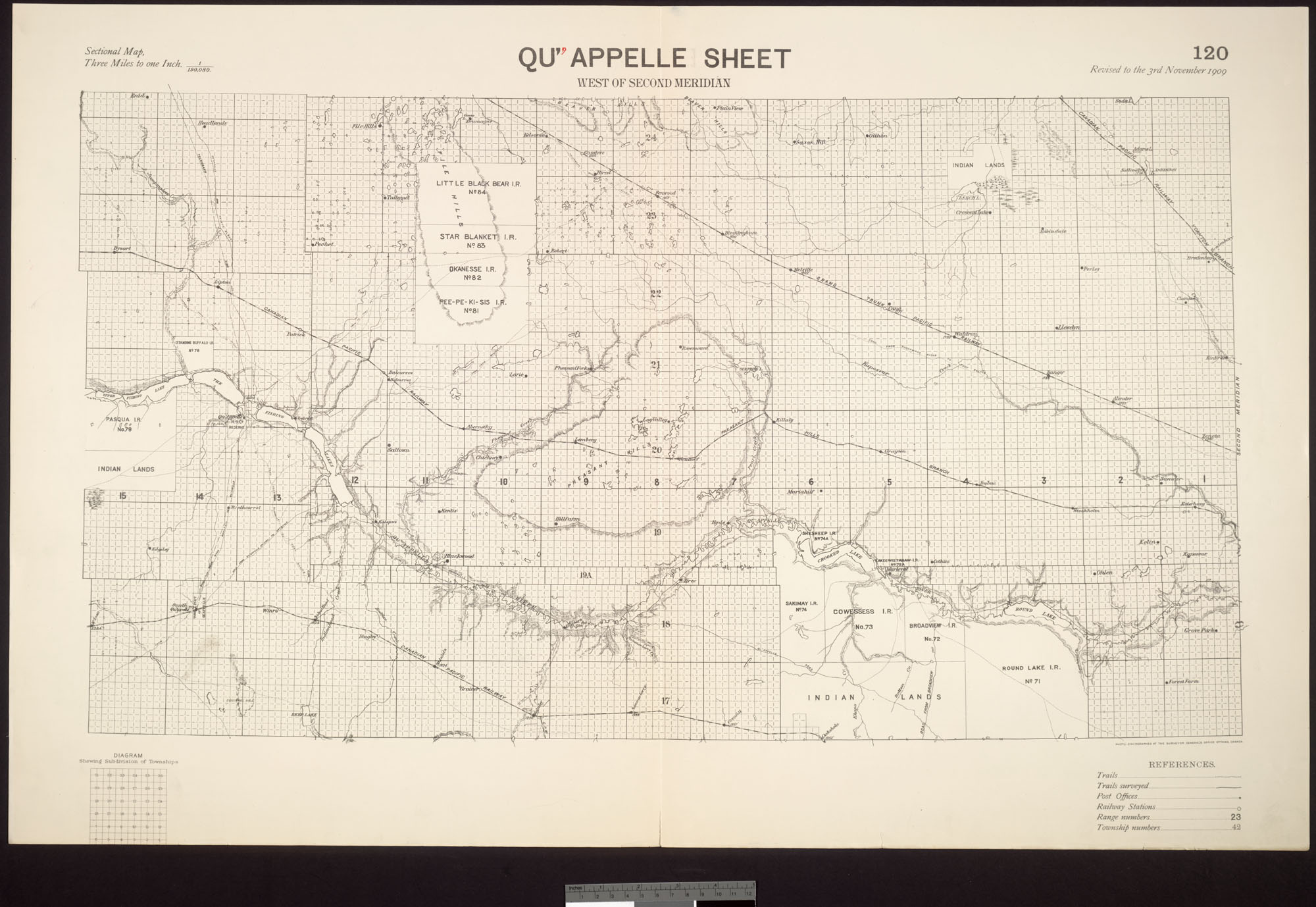 Digitized image of map no. 120, Qu'Appelle, west of the second meridian, image number e003004635