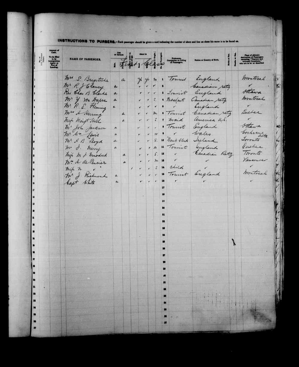 Digitized page of Passenger Lists for Image No.: e003557557