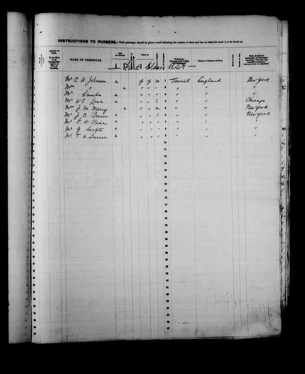 Digitized page of Passenger Lists for Image No.: e003557558