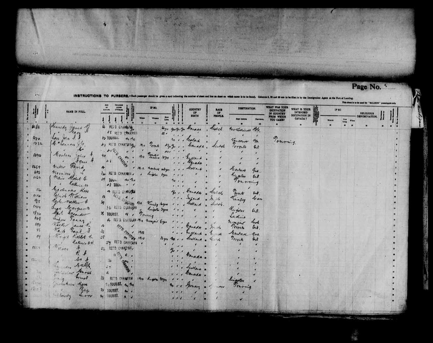 Digitized page of Passenger Lists for Image No.: e003566508