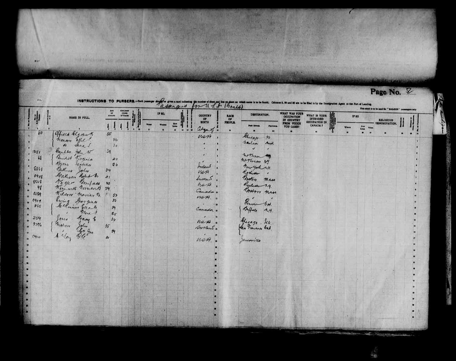 Digitized page of Passenger Lists for Image No.: e003566511
