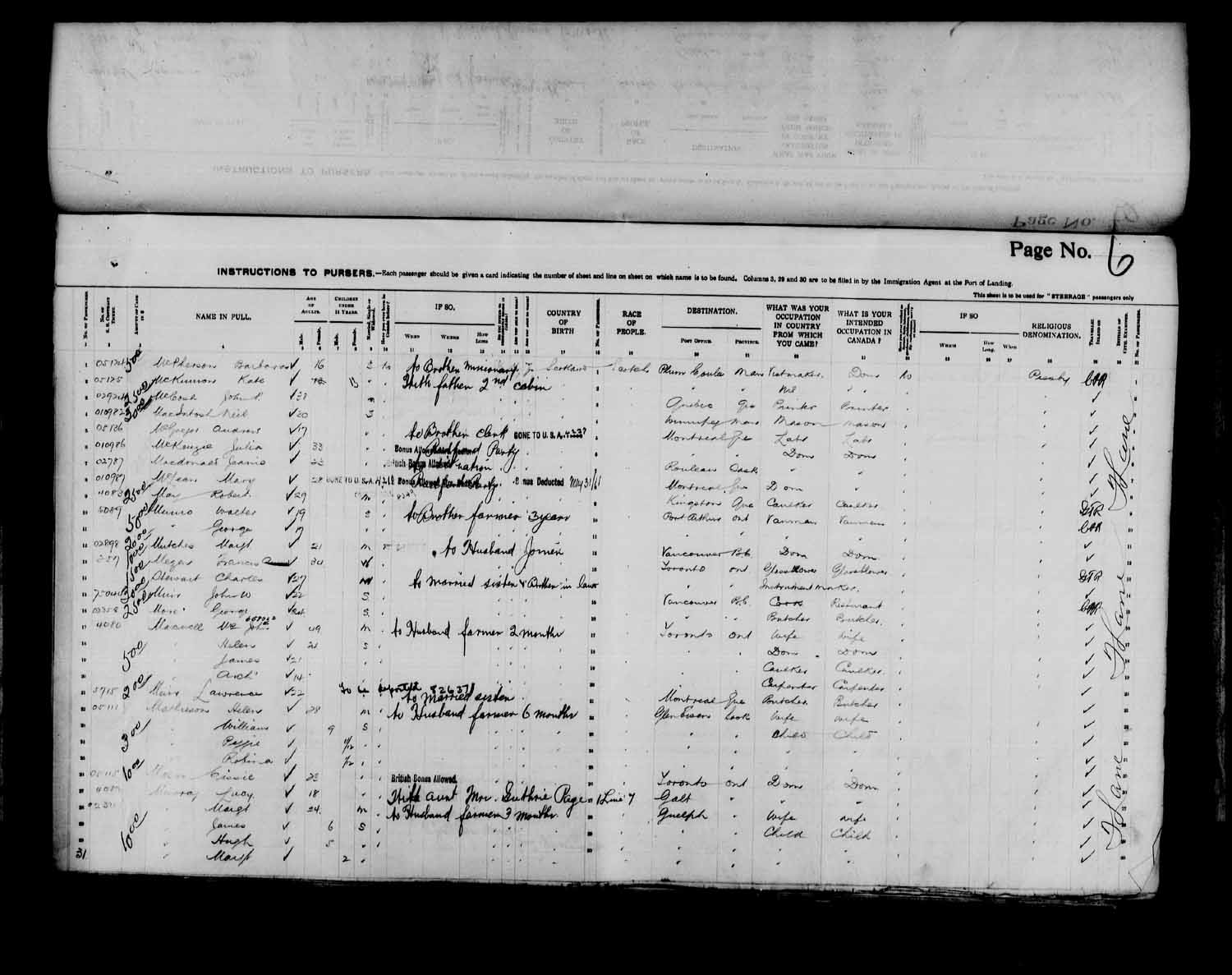 Digitized page of Passenger Lists for Image No.: e003566525