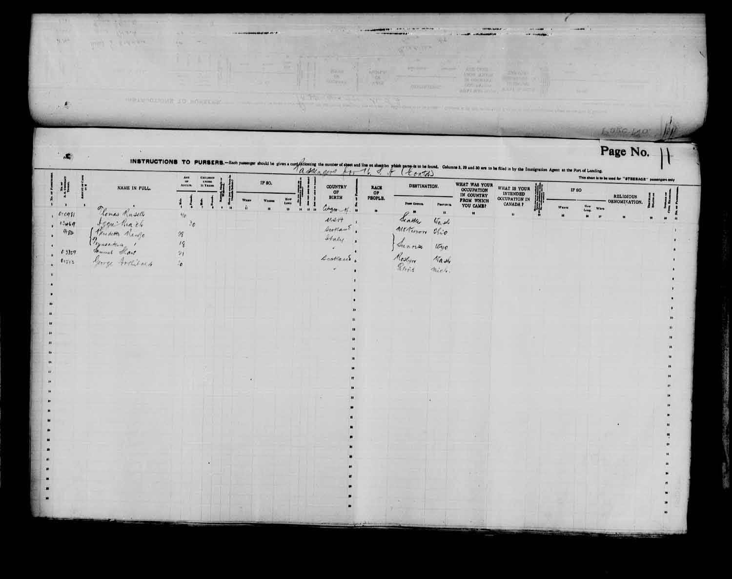 Digitized page of Passenger Lists for Image No.: e003566530