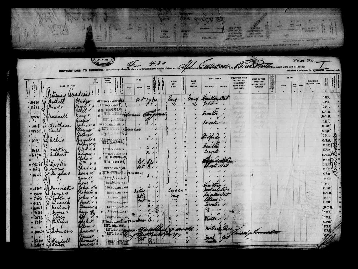 Item: Passenger lists of the CORSICAN arriving in Quebec, Que  and