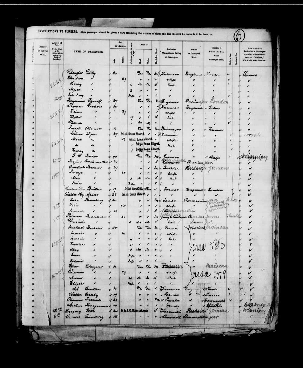 Digitized page of Passenger Lists for Image No.: e003658076
