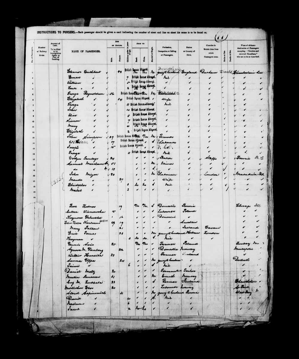 Digitized page of Passenger Lists for Image No.: e003658081