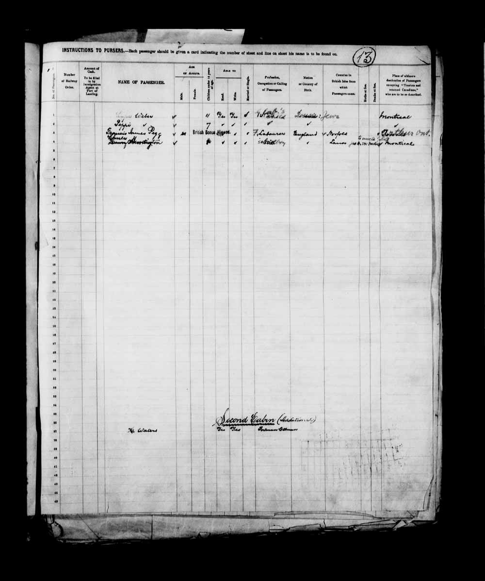 Digitized page of Passenger Lists for Image No.: e003658083