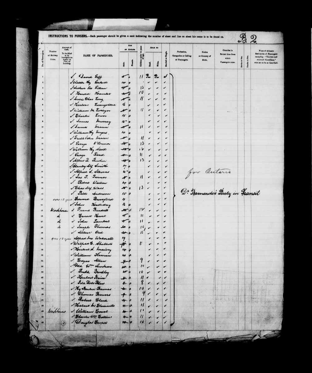 Digitized page of Passenger Lists for Image No.: e003658088