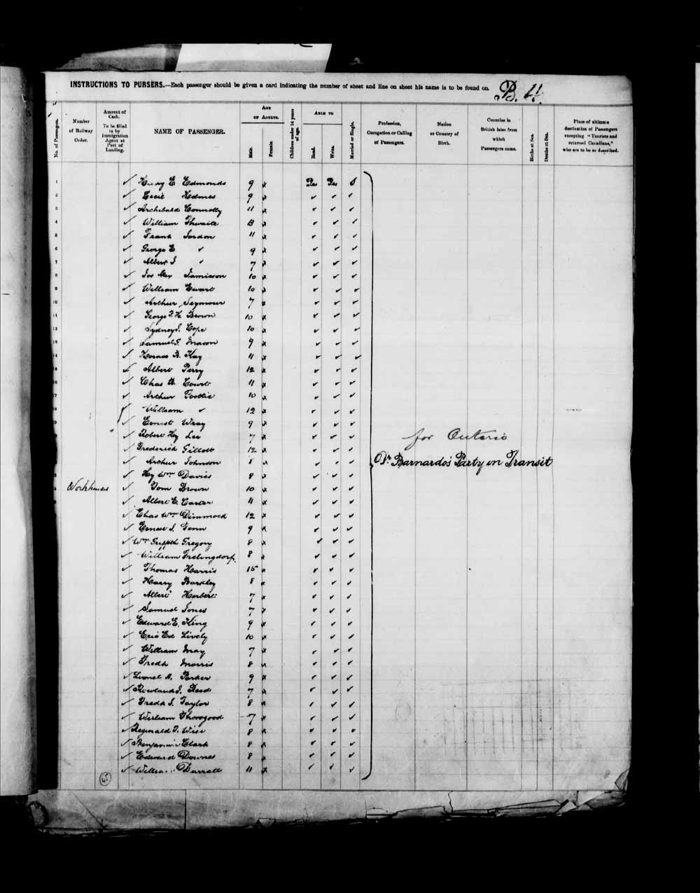 Digitized page of Passenger Lists for Image No.: e003658090