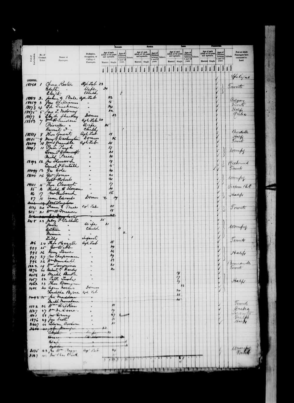 Digitized page of Passenger Lists for Image No.: e003674947